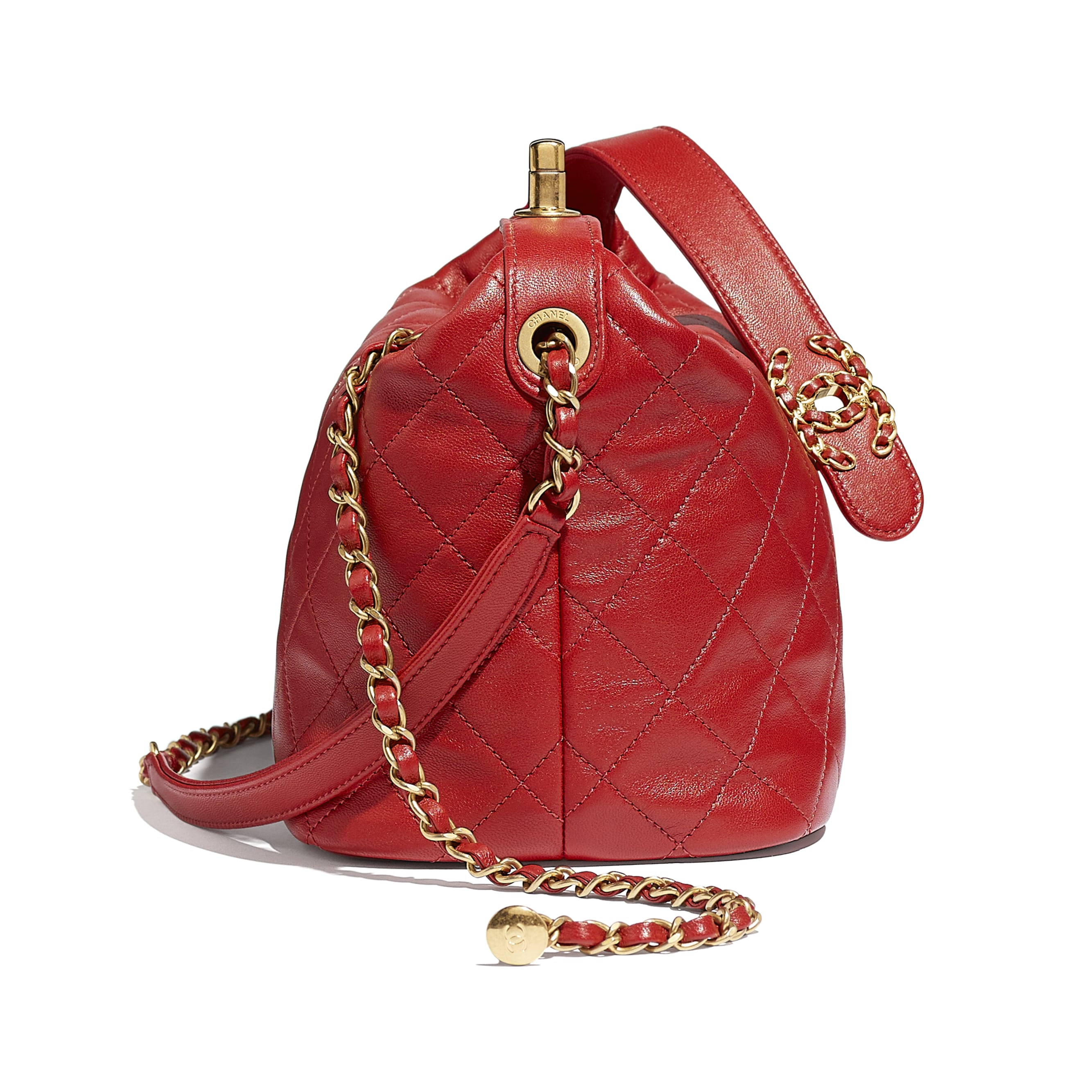 Hobo Handbag - Red - Lambskin & Gold Metal - CHANEL - Extra view - see standard sized version