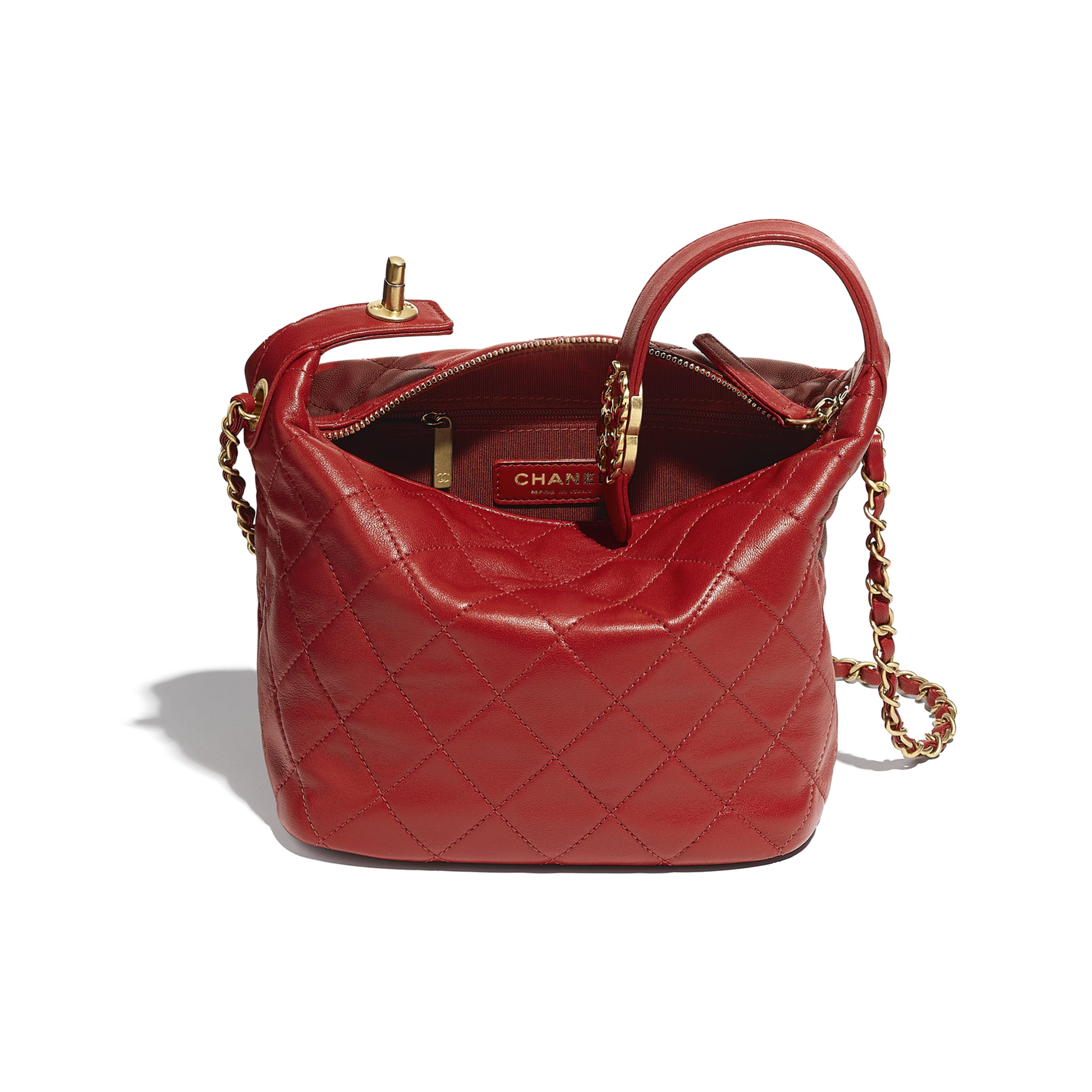 Hobo Handbag - Red - Lambskin & Gold Metal - CHANEL - Other view - see standard sized version