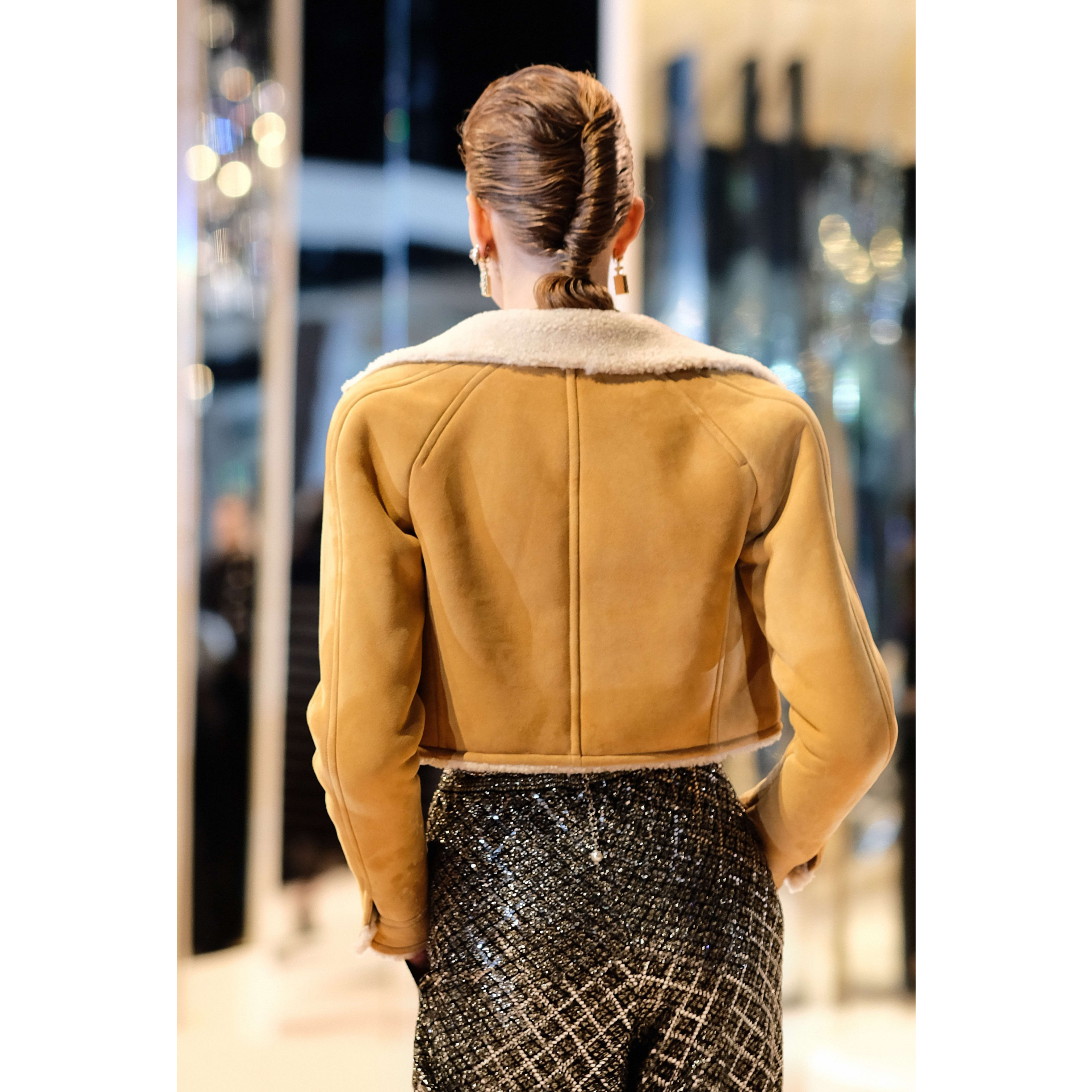 Jacket - Beige & Ecru - Shearling Lambskin - CHANEL - Alternative view - see standard sized version