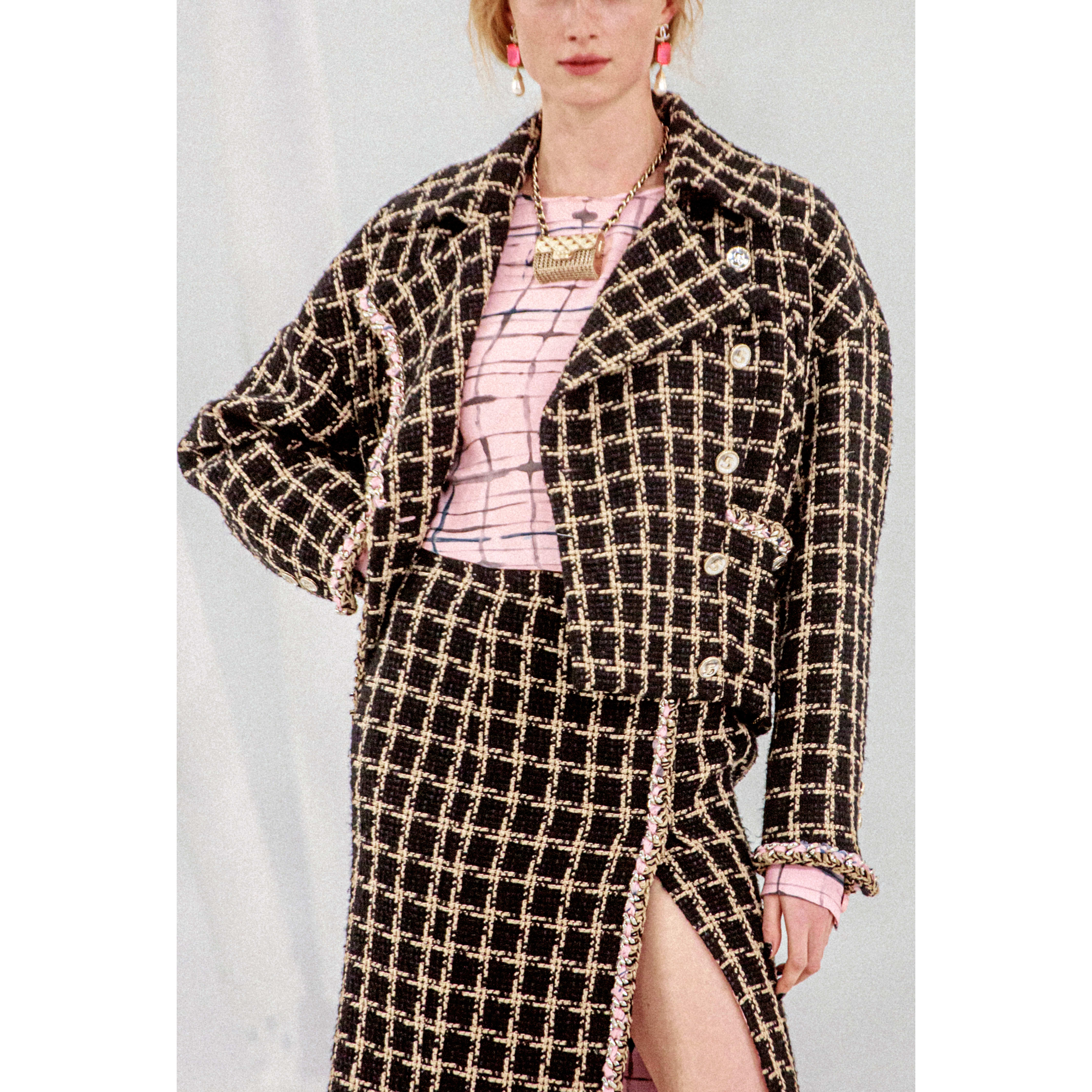 Jacket - Black & Beige - Silk & Cotton Tweed - CHANEL - Alternative view - see standard sized version
