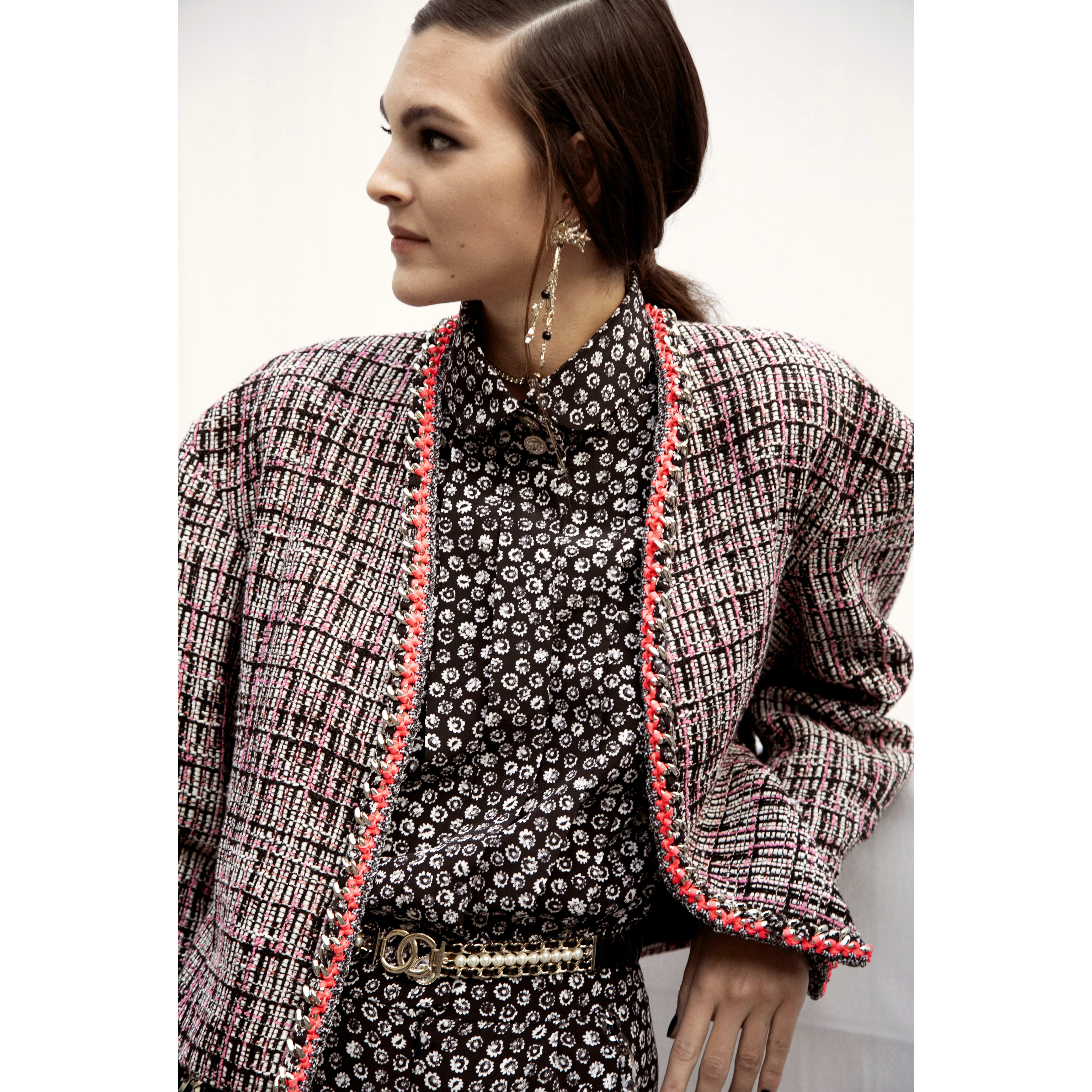 Jacket - Black, Ecru & Pink - Cotton Tweed - CHANEL - Other view - see standard sized version