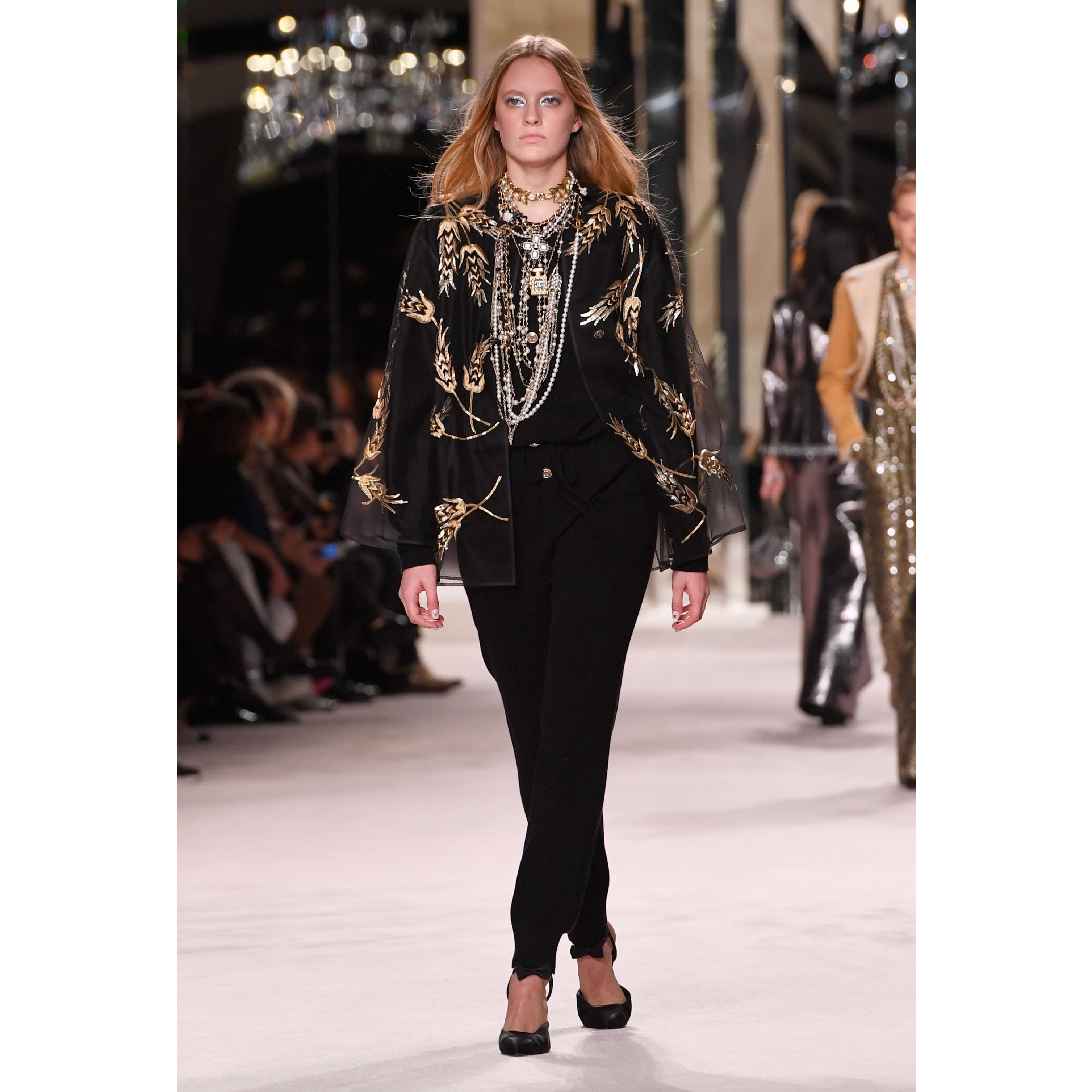 Jacket - Black - Embroidered Silk Tulle - CHANEL - Default view - see standard sized version