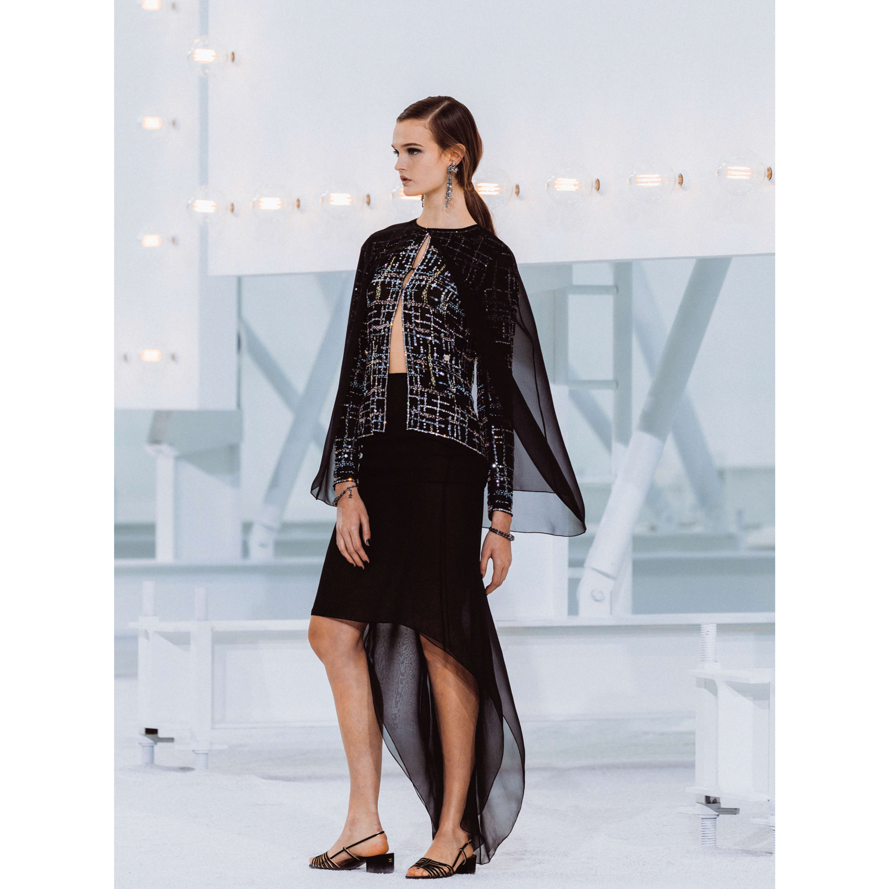 Jacket - Black & Multicolor - Embroidered Silk Muslin - CHANEL - Default view - see standard sized version