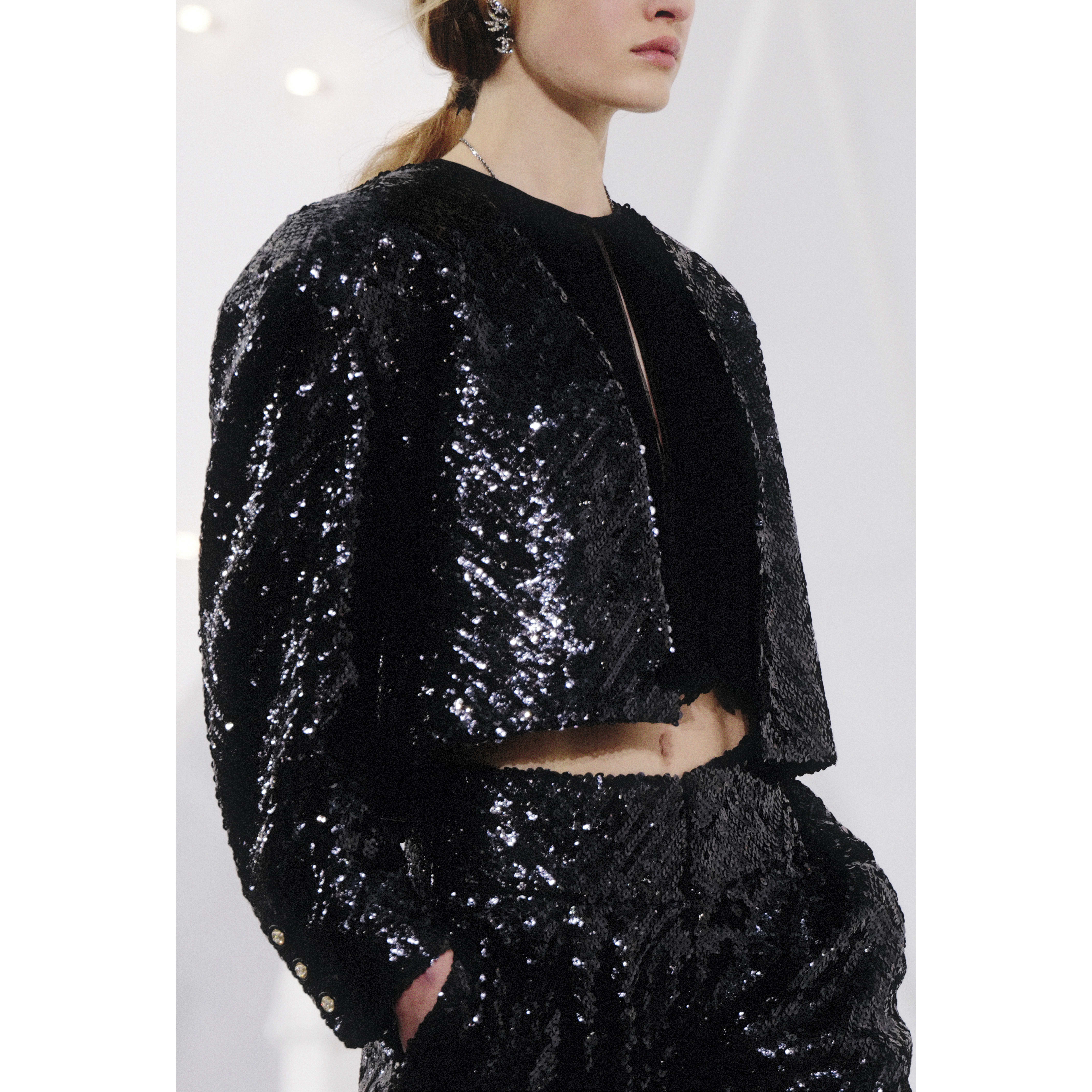 Jacket - Black - Sequin Embroidered Silk Muslin - CHANEL - Alternative view - see standard sized version
