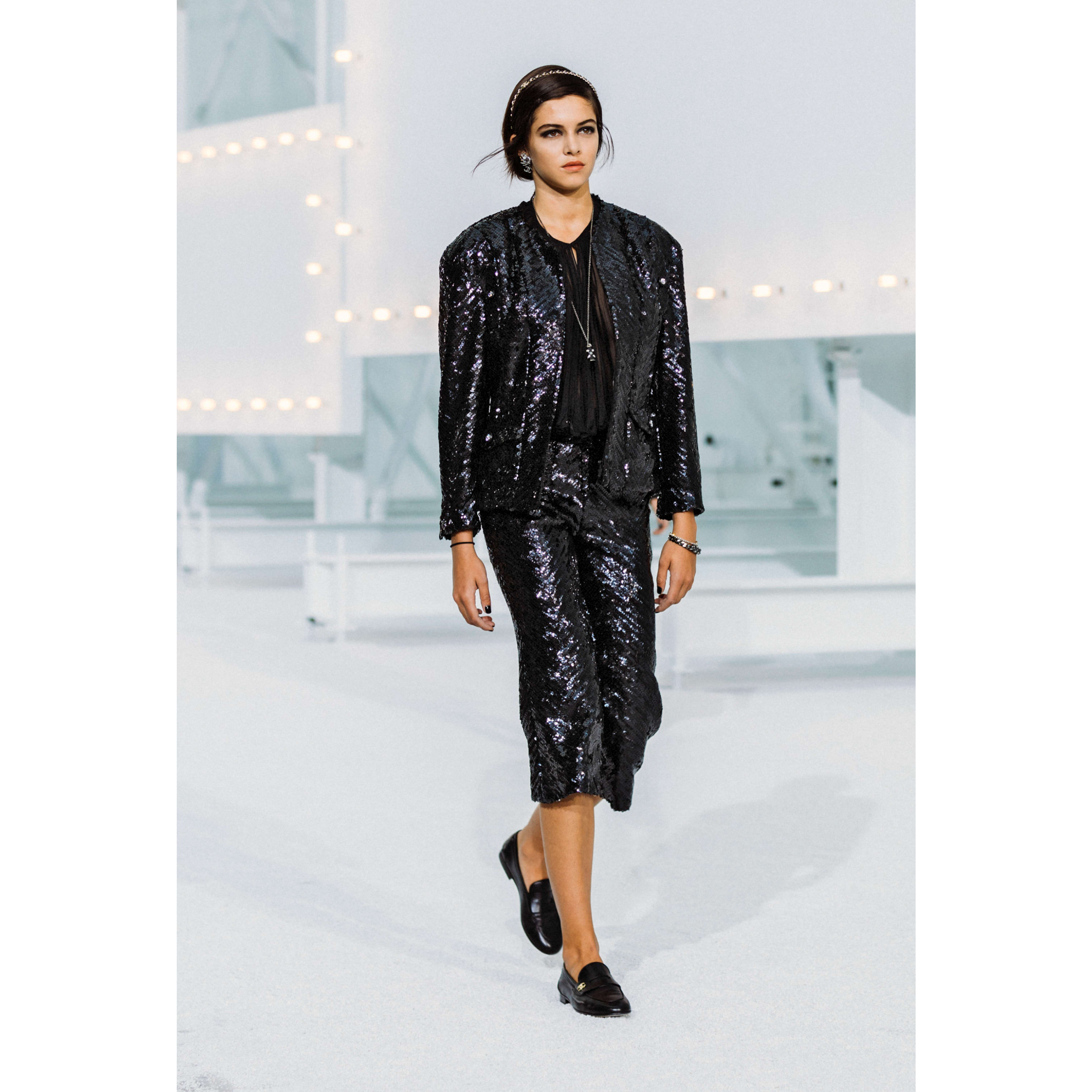 Jacket - Black - Sequin Embroidered Silk Muslin - CHANEL - Default view - see standard sized version