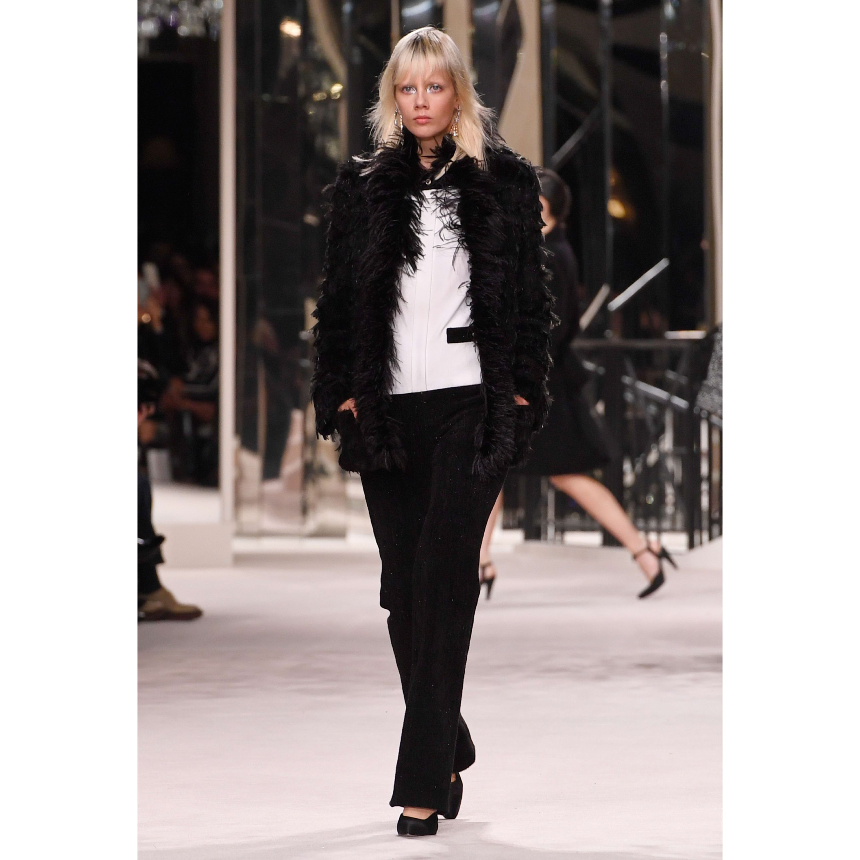 Jacket - Black -  Tweed Embroidered with Feathers - CHANEL - Default view - see standard sized version