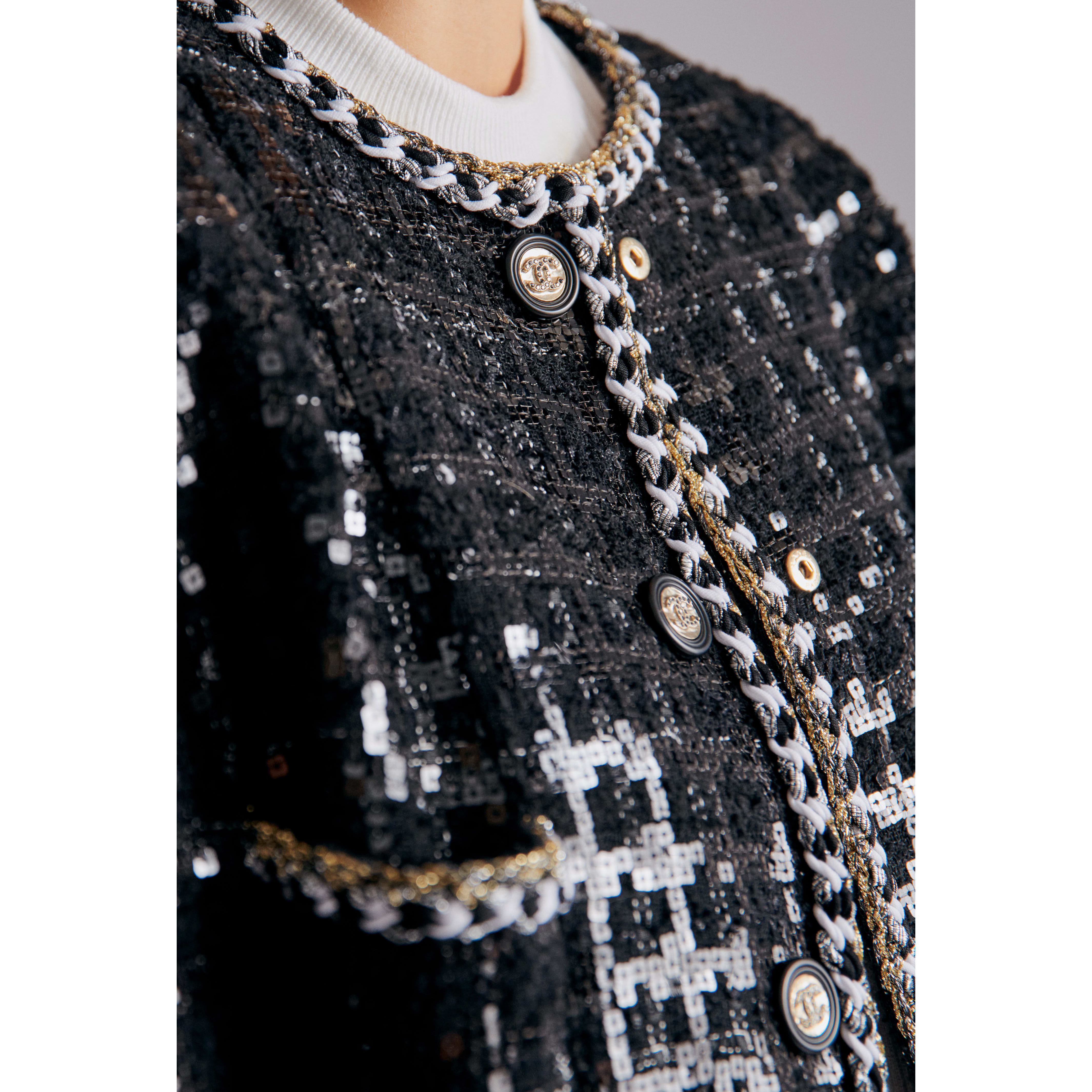 Jacket - Black & White - Embroidered Glittered Tweed - CHANEL - Alternative view - see standard sized version