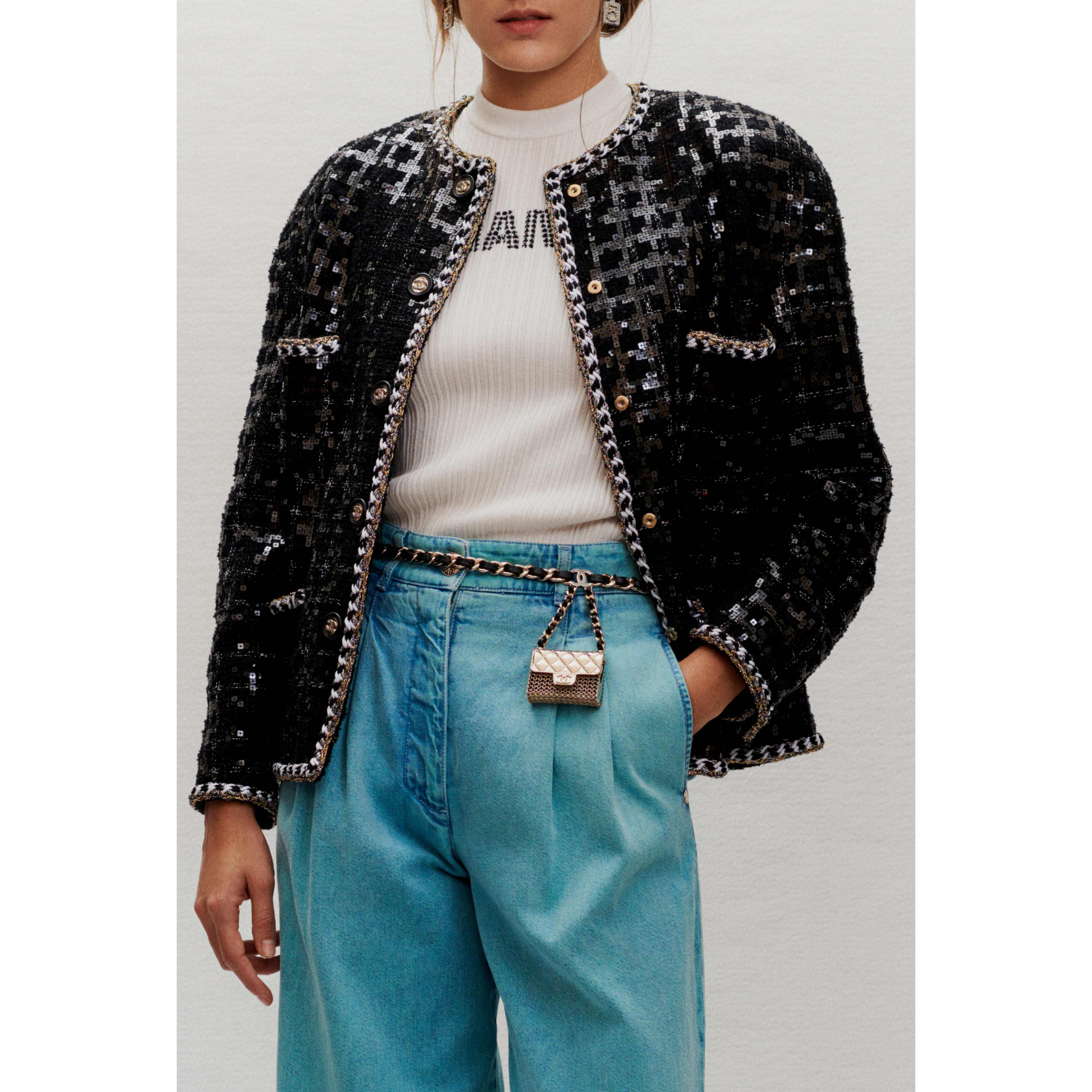 Jacket - Black & White - Embroidered Glittered Tweed - CHANEL - Other view - see standard sized version