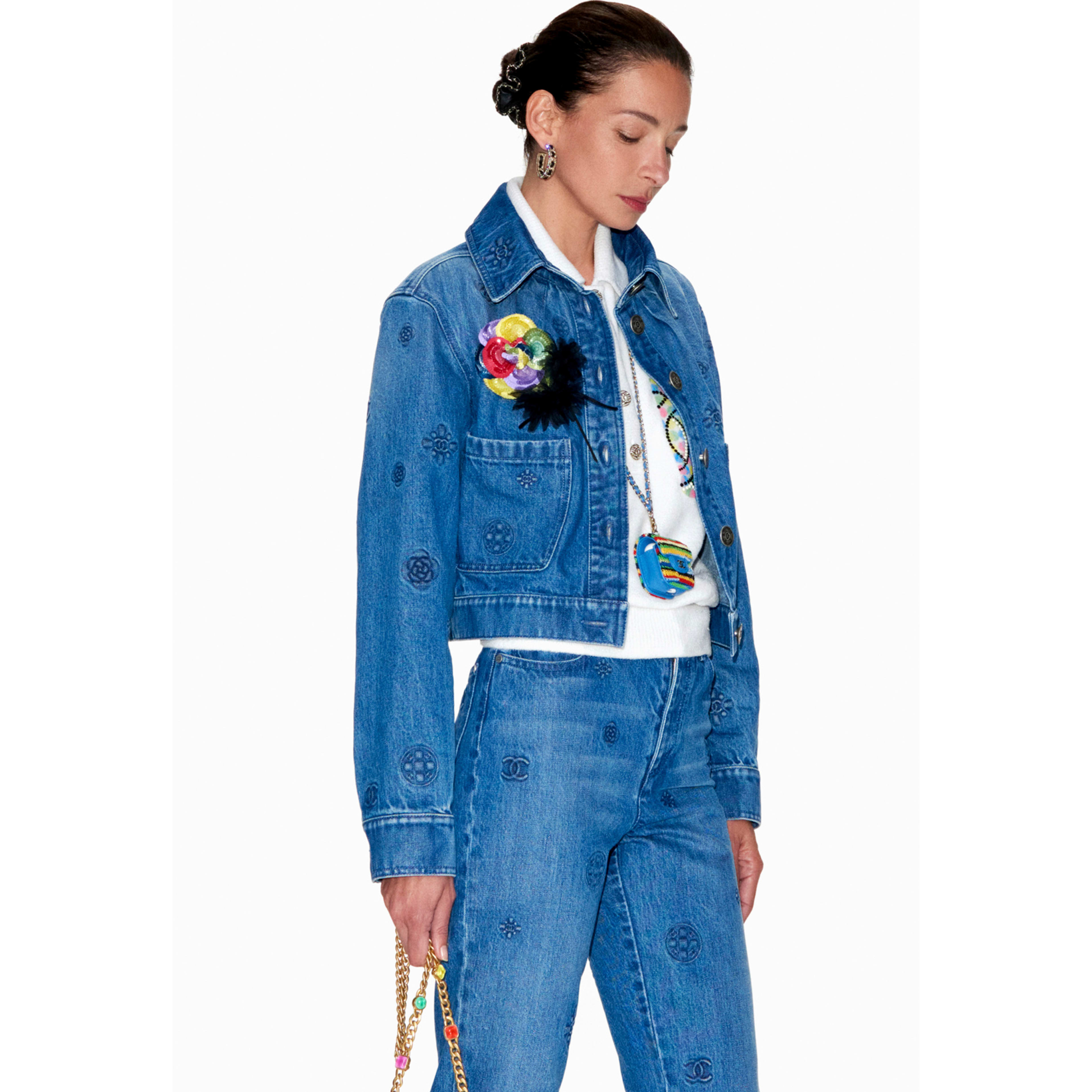 Jacket - Blue - Embroidered Washed Denim - CHANEL - Default view - see standard sized version