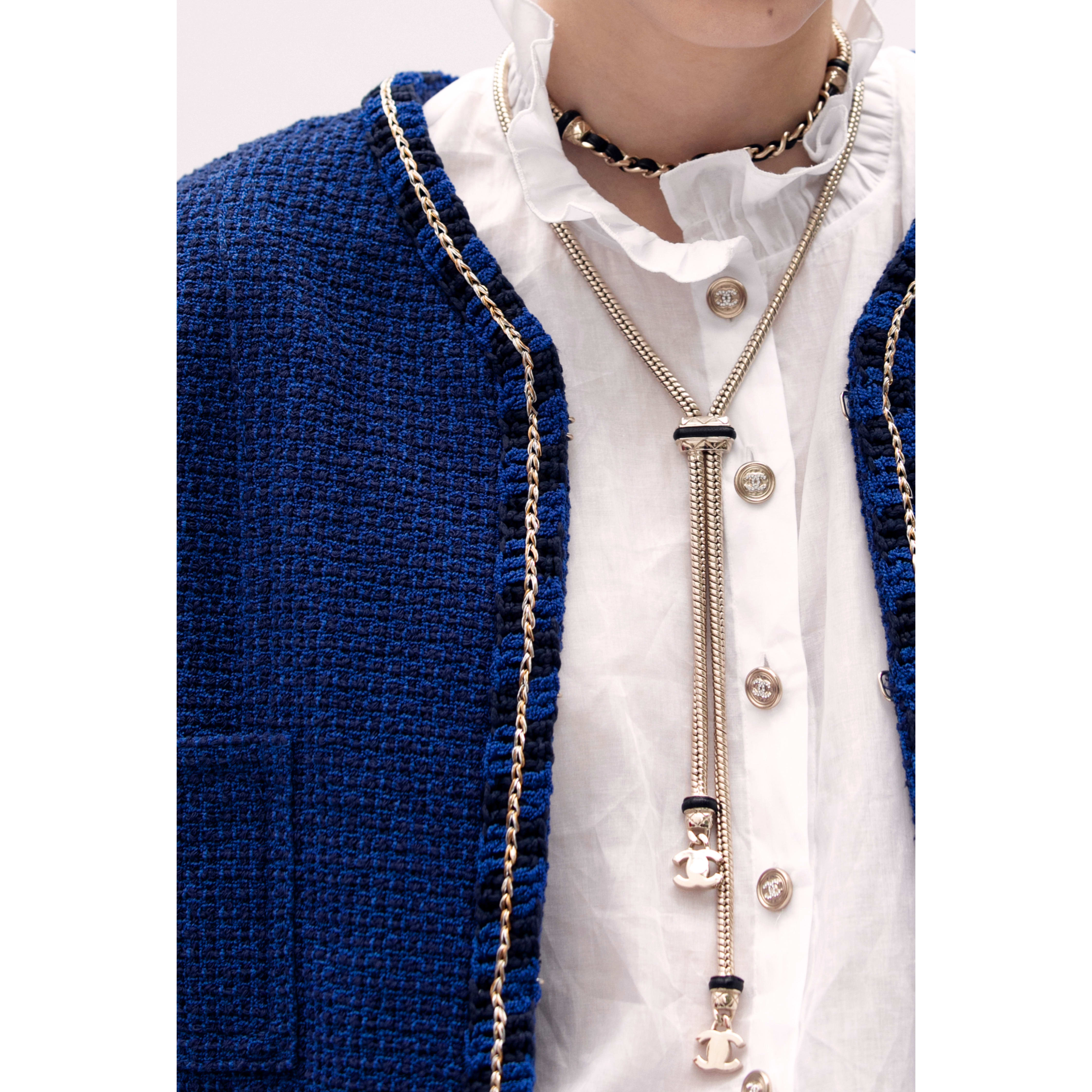 Jacket - Blue & Navy Blue - Cotton Tweed - CHANEL - Alternative view - see standard sized version