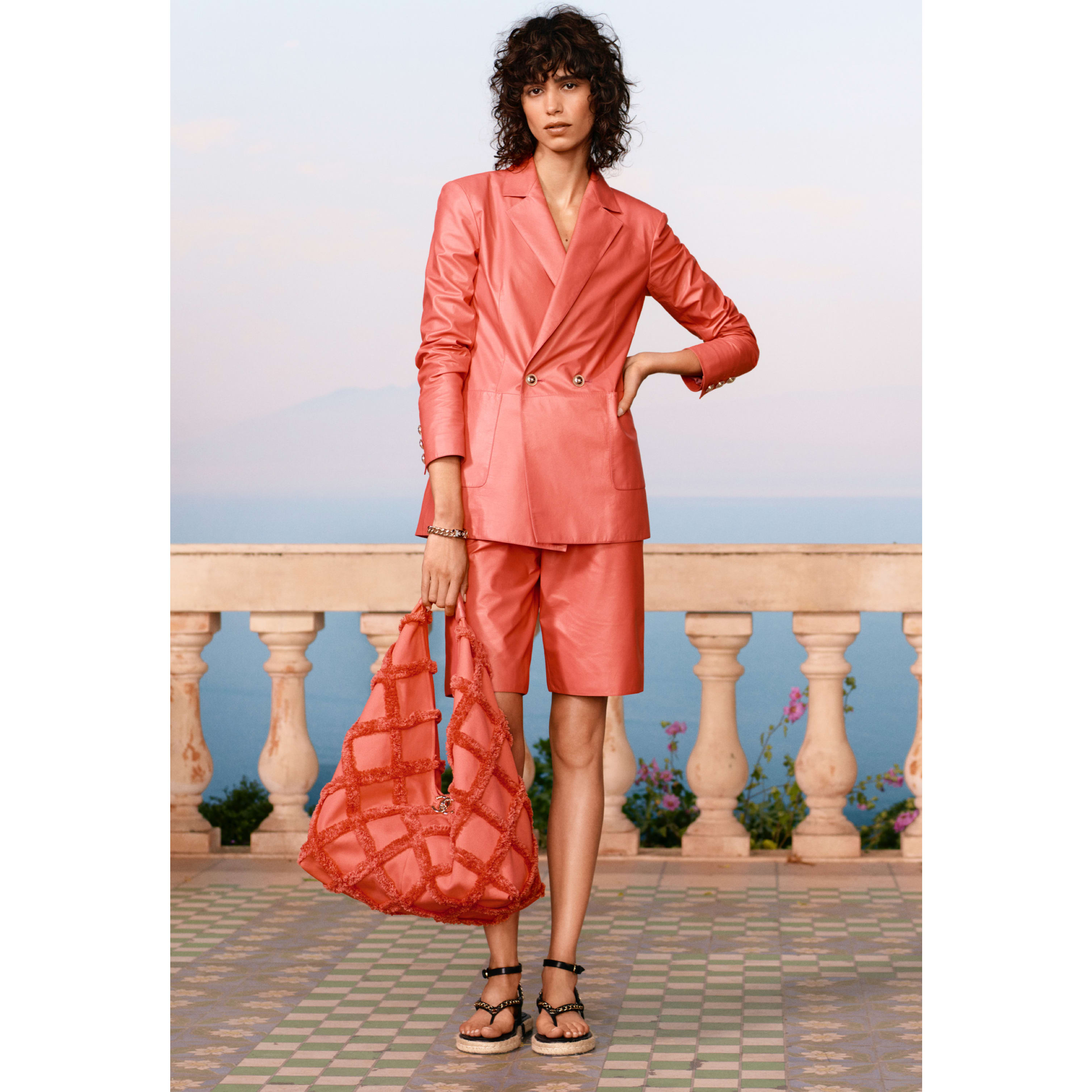 Jacket - Coral - Calfskin - CHANEL - Default view - see standard sized version