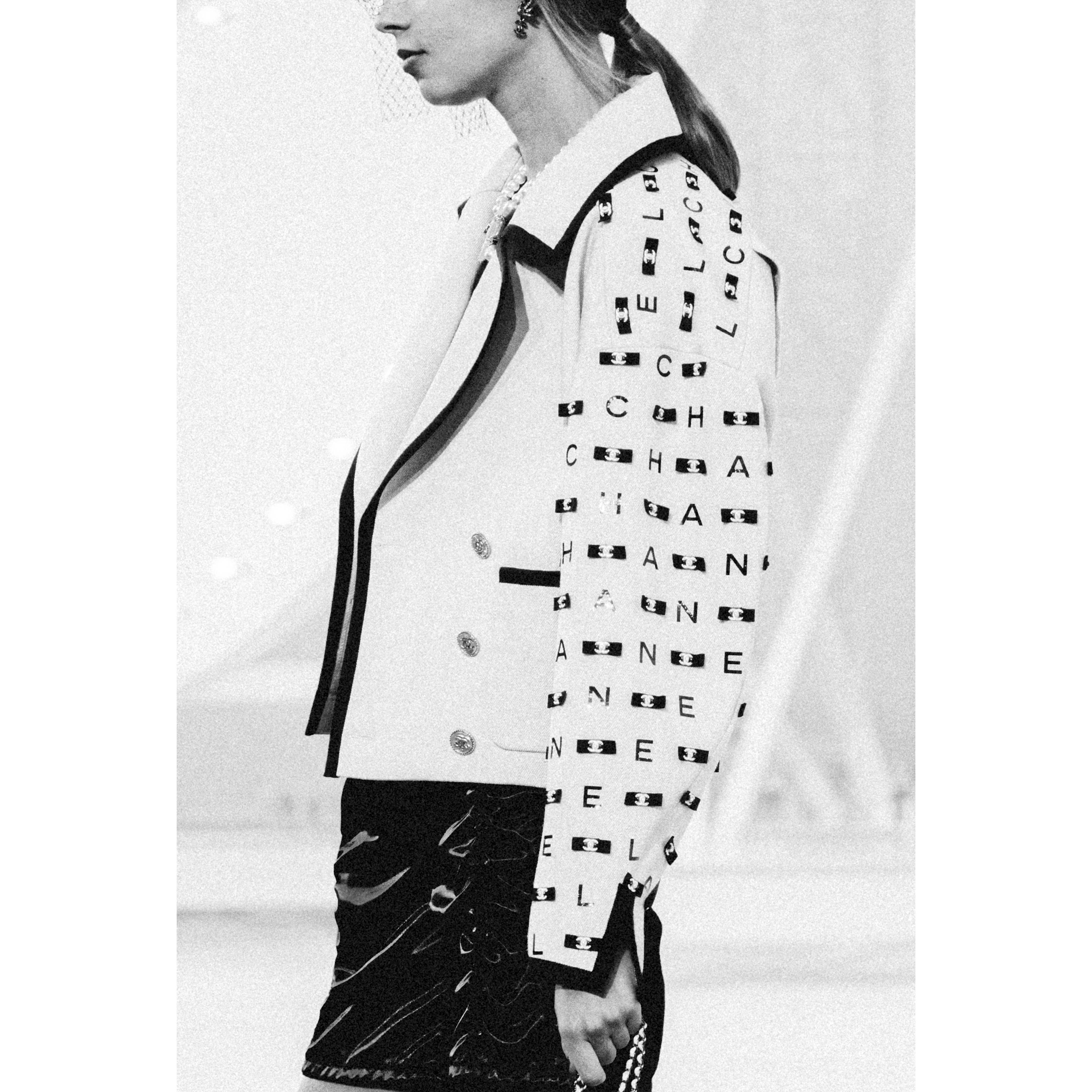 Jacket - Ecru & Black - Embroidered Cotton Drill - CHANEL - Alternative view - see standard sized version