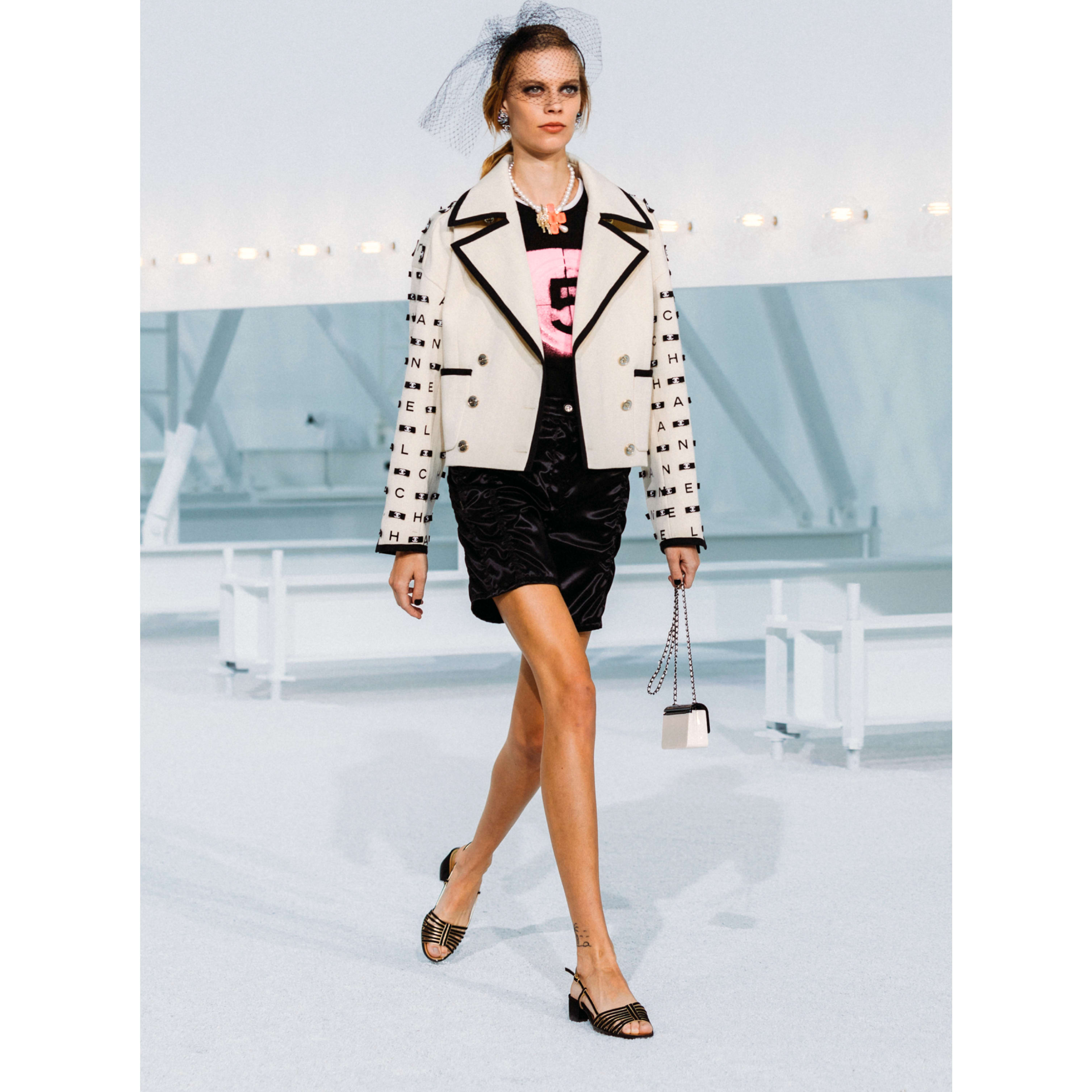 Jacket - Ecru & Black - Embroidered Cotton Drill - CHANEL - Default view - see standard sized version