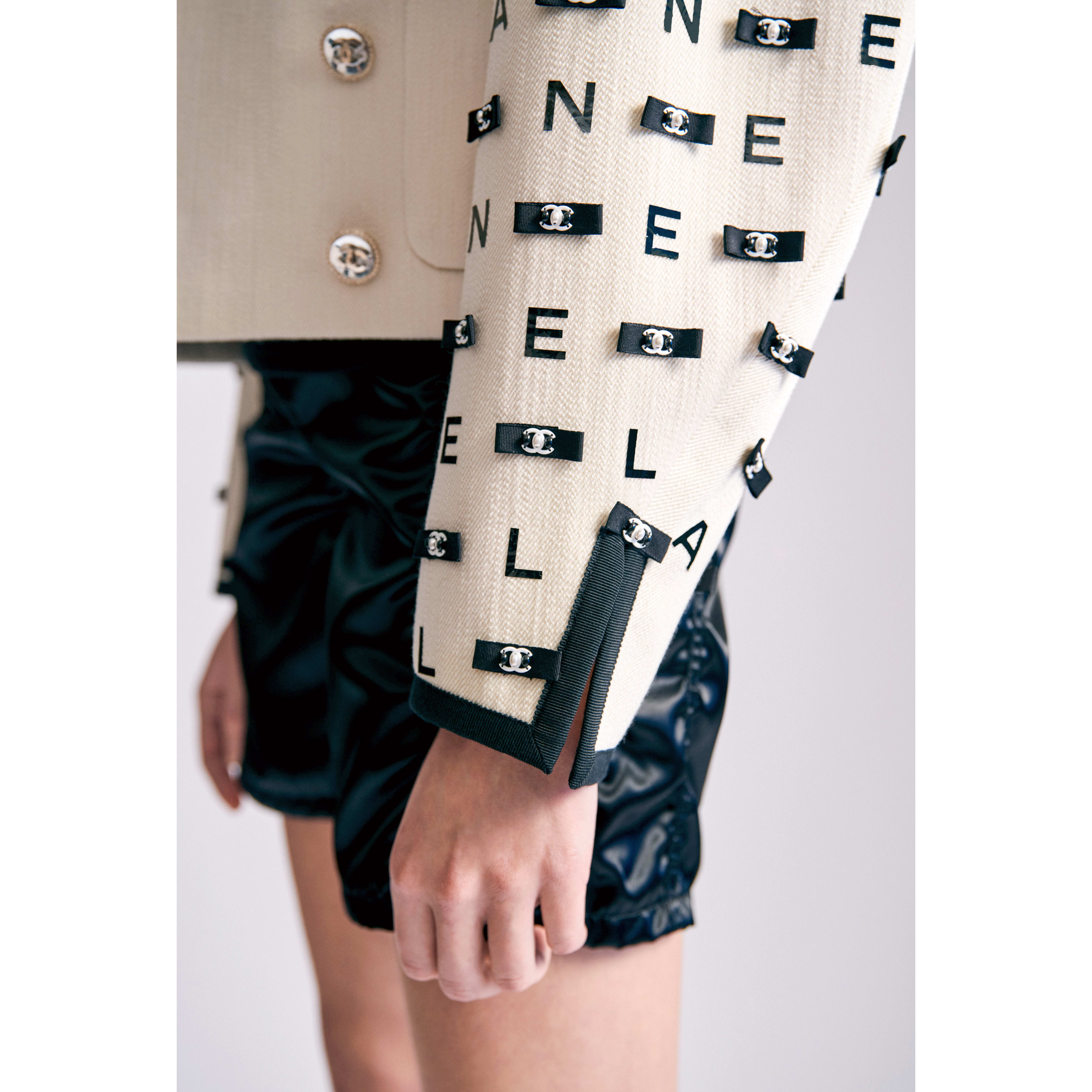 Jacket - Ecru & Black - Embroidered Cotton Drill - CHANEL - Other view - see standard sized version
