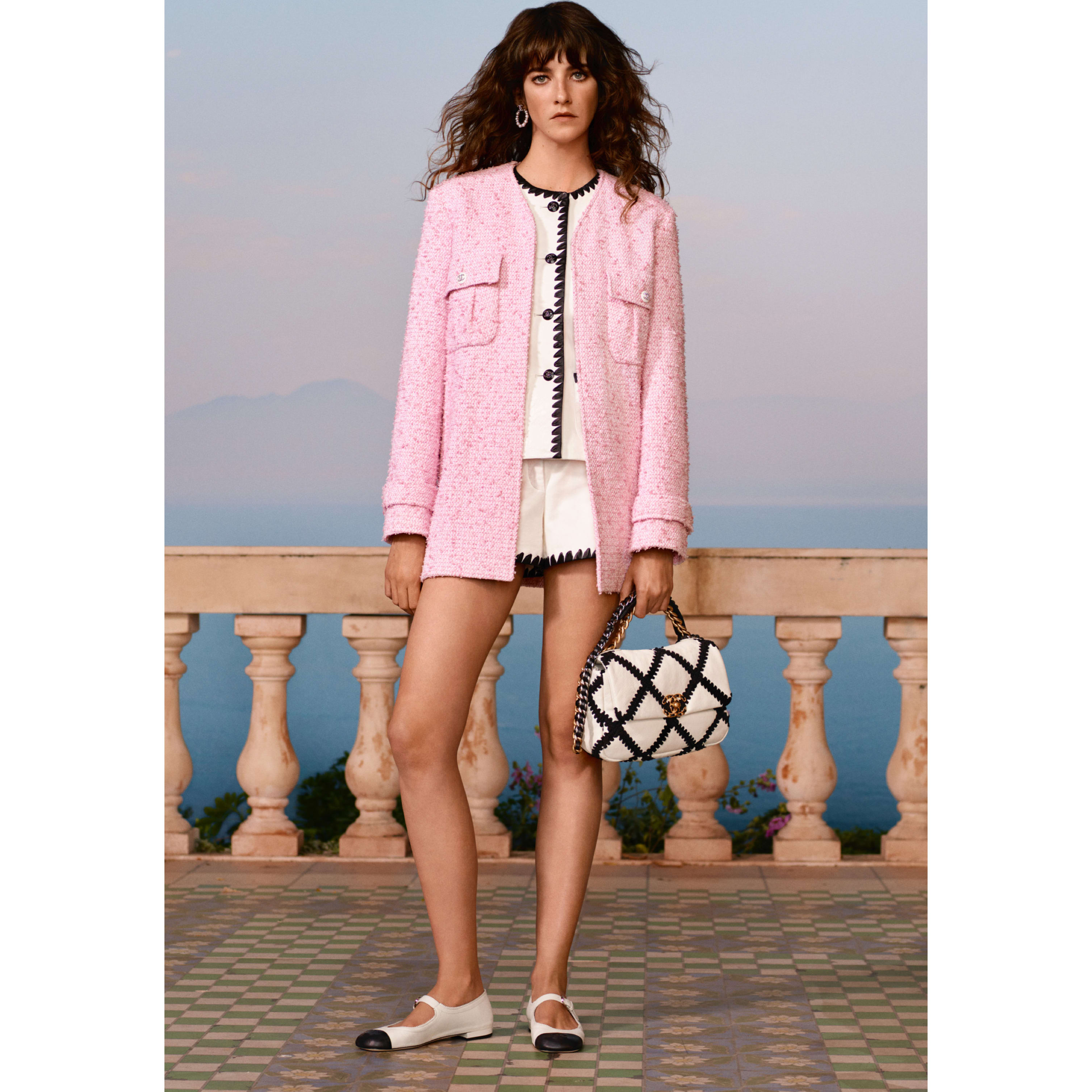 Jacket - Pink & White - Tweed - CHANEL - Default view - see standard sized version