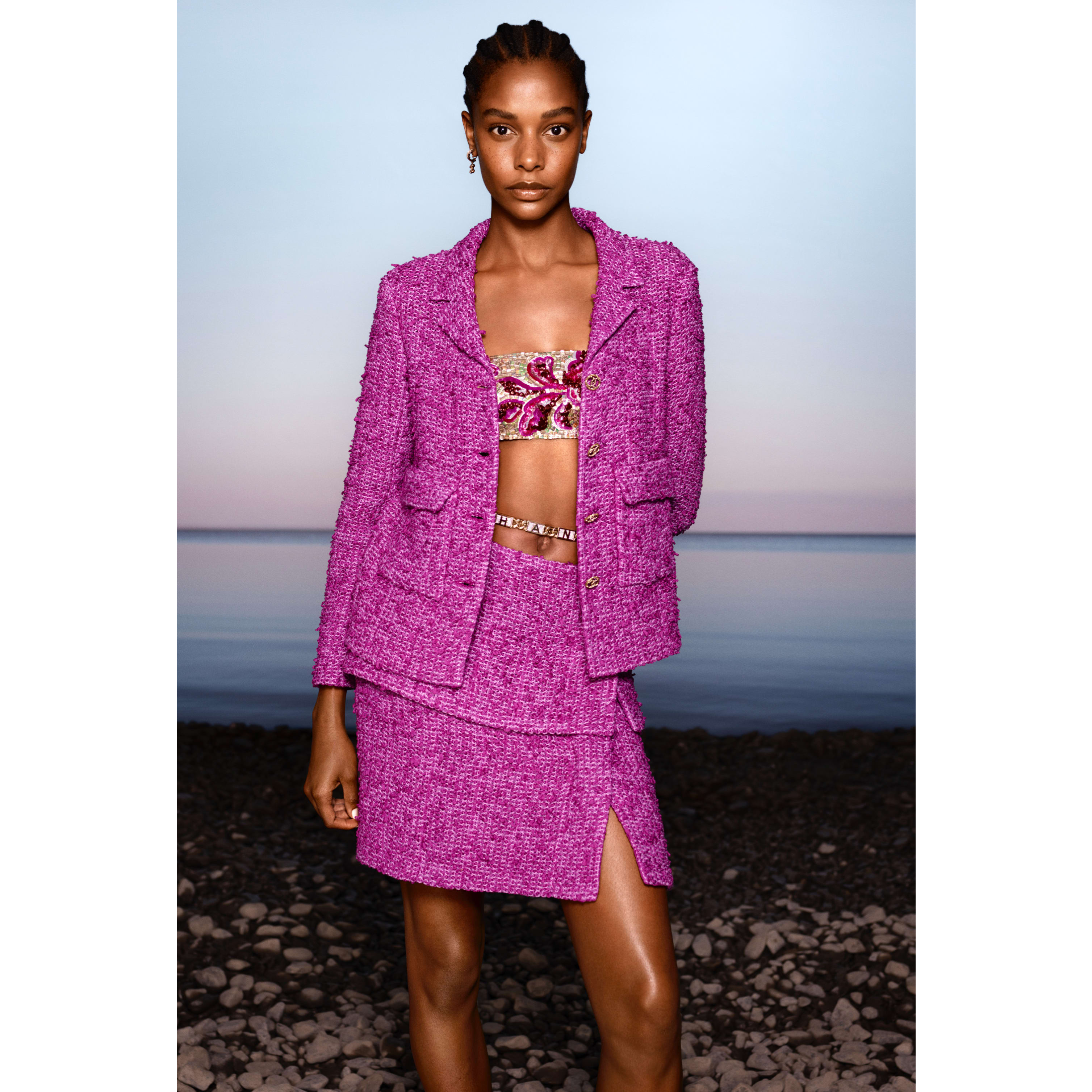 Jacket - Purple - Cotton Tweed - CHANEL - Default view - see standard sized version