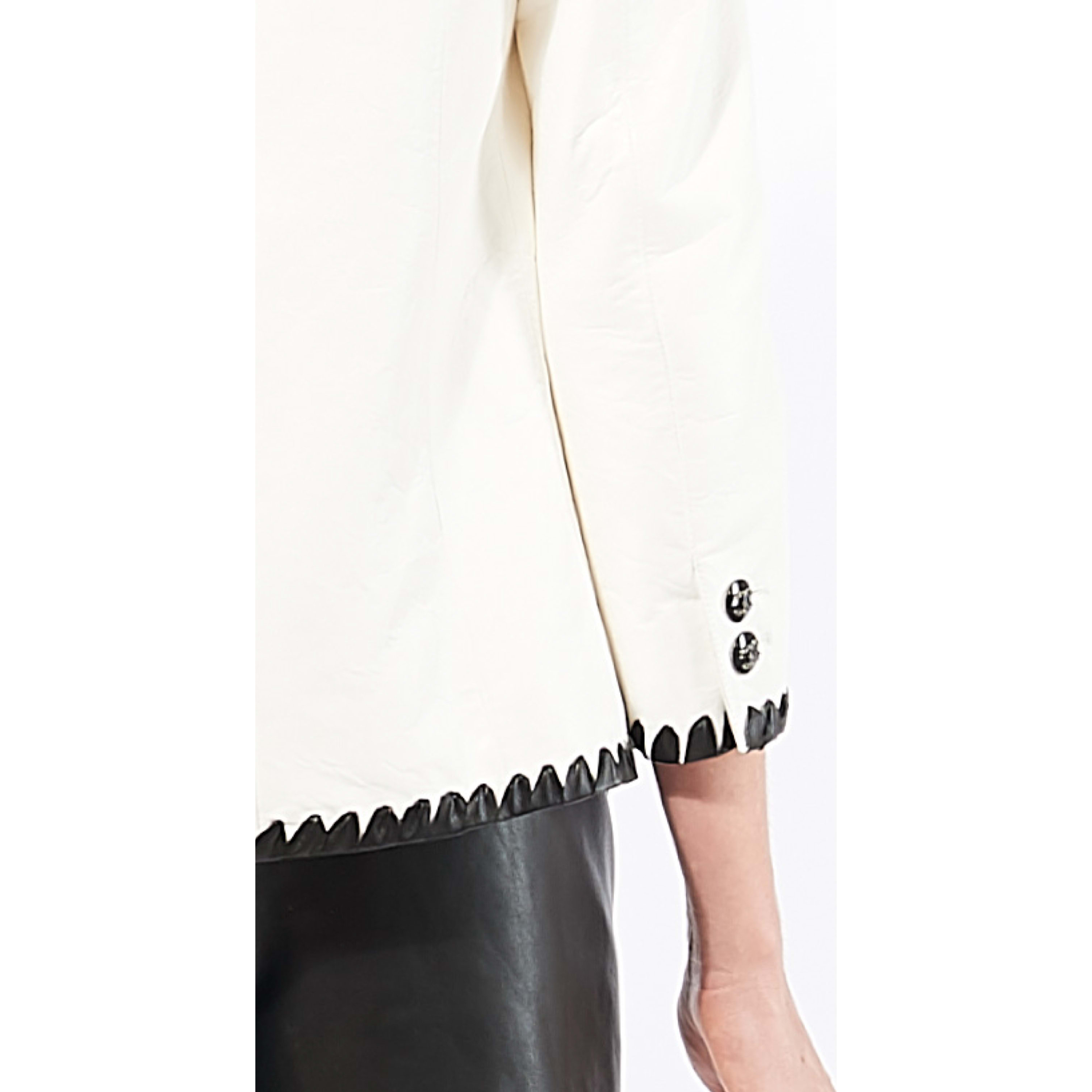 Jacket - White & Black - Lambskin - CHANEL - Alternative view - see standard sized version