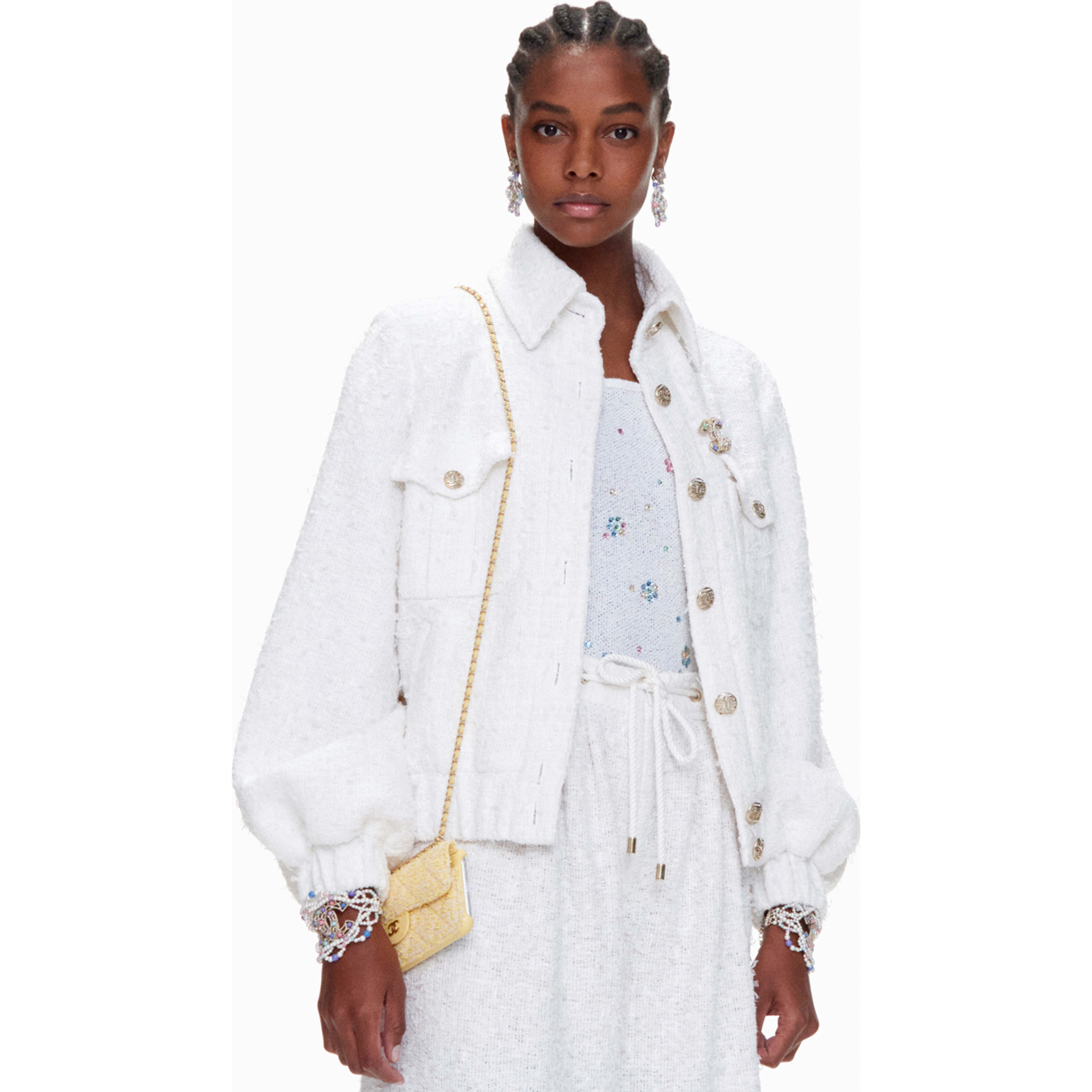 Jacket - White - Cotton Tweed - CHANEL - Default view - see standard sized version