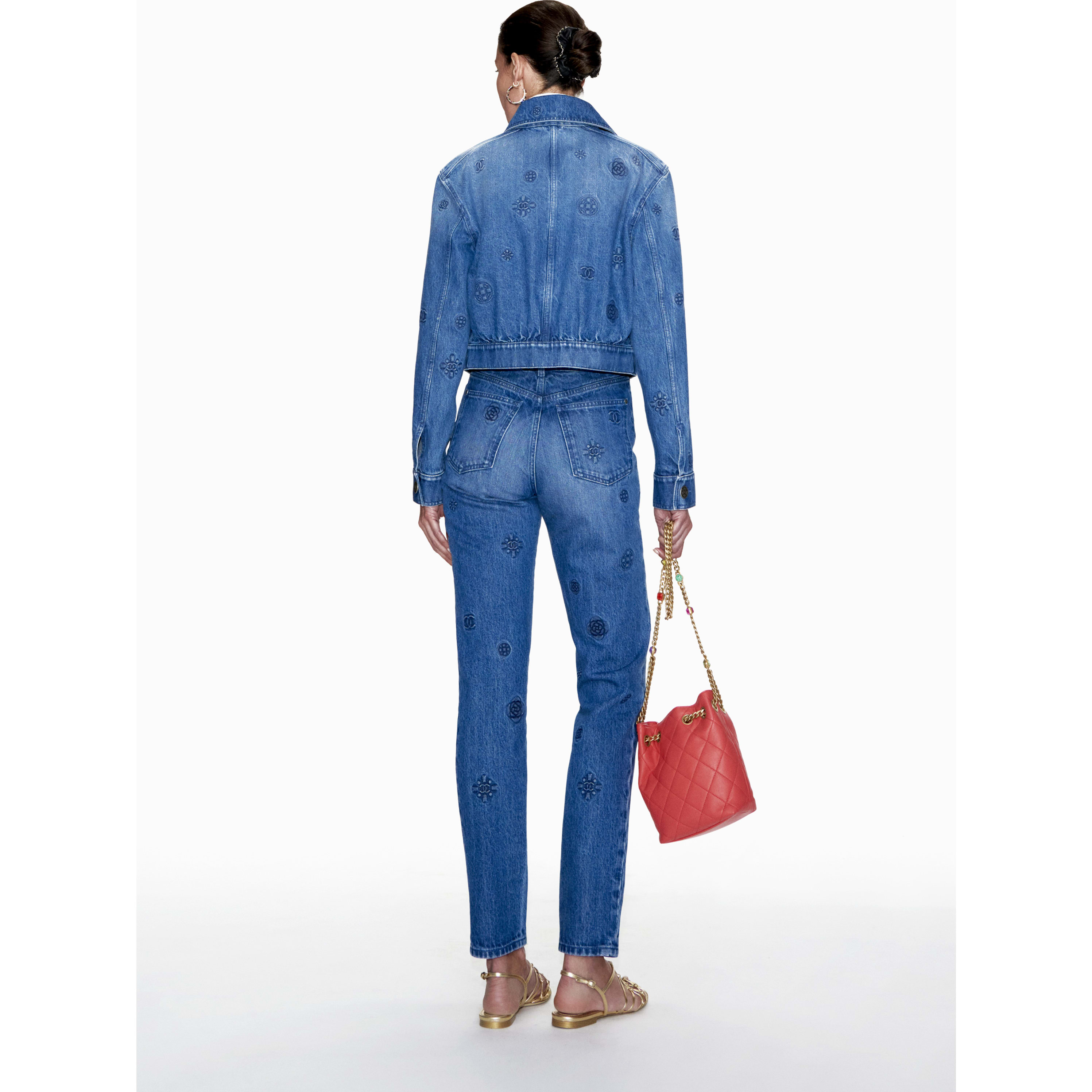 Jeans - Blue - Embroidered Washed Denim - CHANEL - Alternative view - see standard sized version