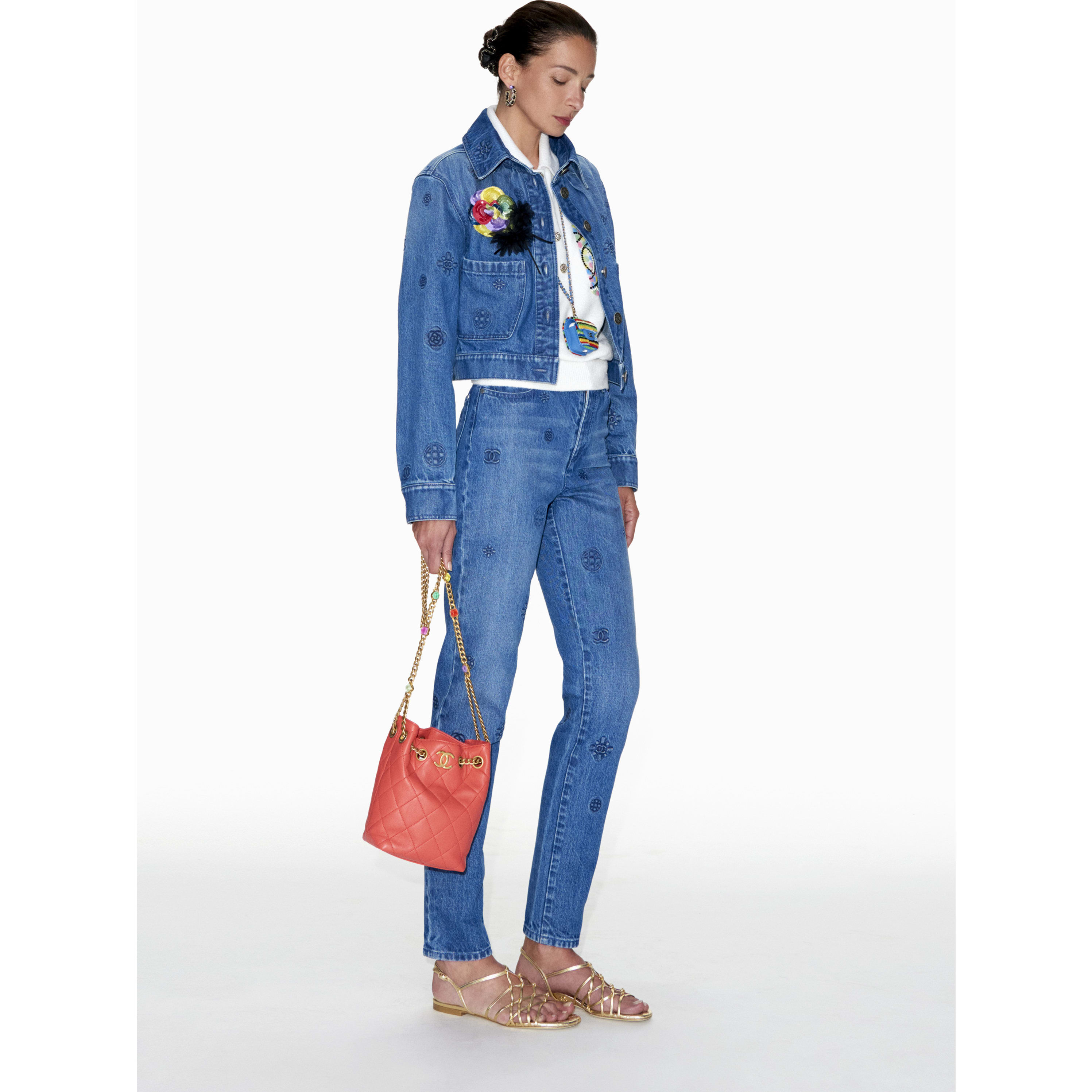Jeans - Blue - Embroidered Washed Denim - CHANEL - Default view - see standard sized version