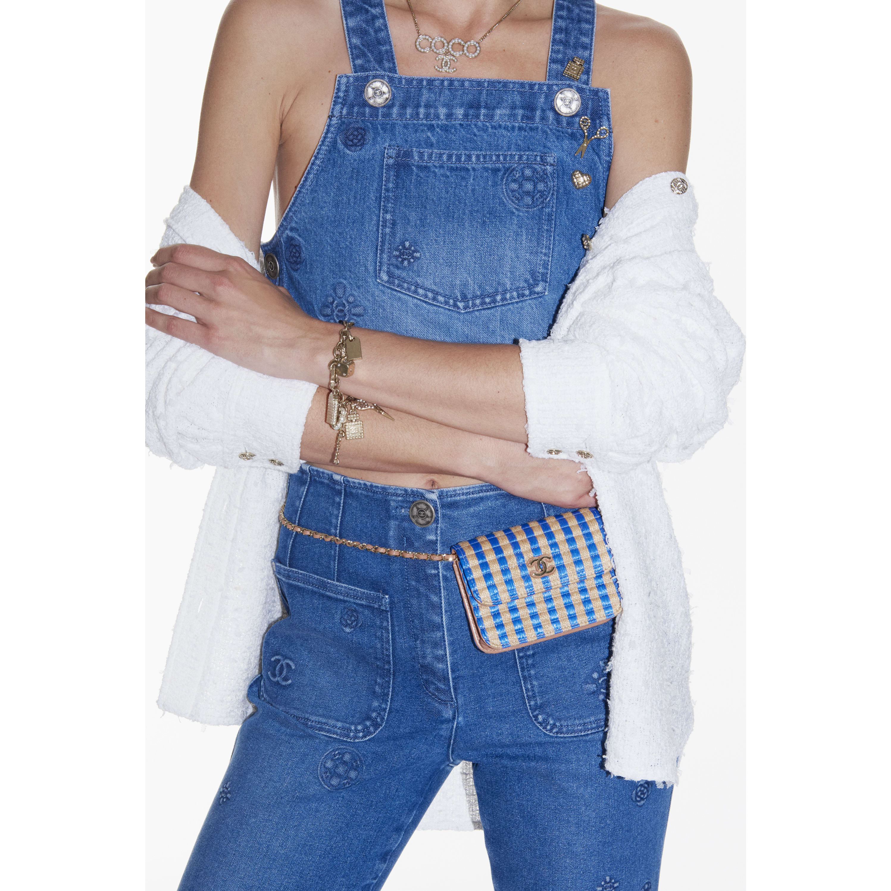 Jeans - Blue - Embroidered Washed Stretch Denim  - CHANEL - Alternative view - see standard sized version