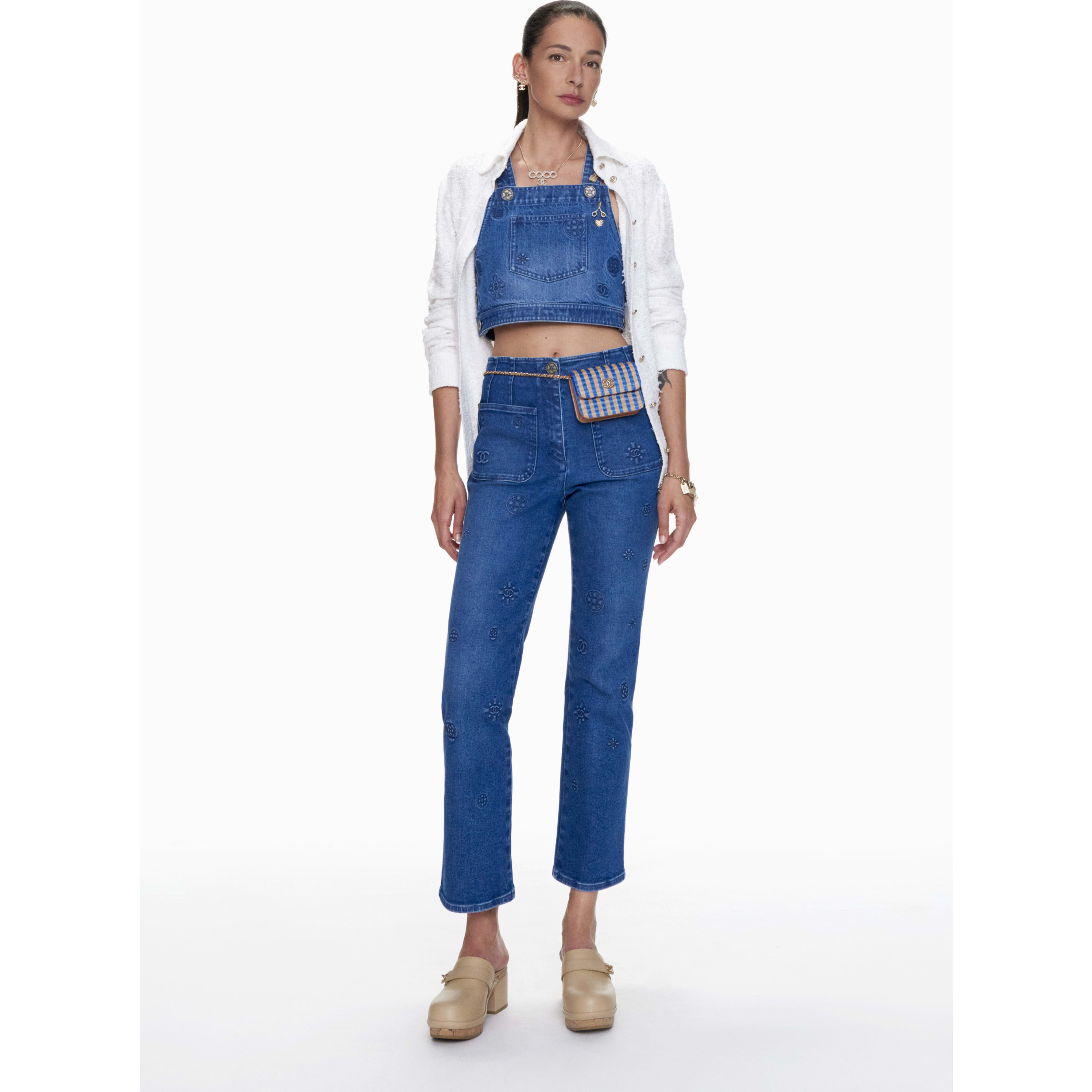 Jeans - Blue - Embroidered Washed Stretch Denim  - CHANEL - Default view - see standard sized version