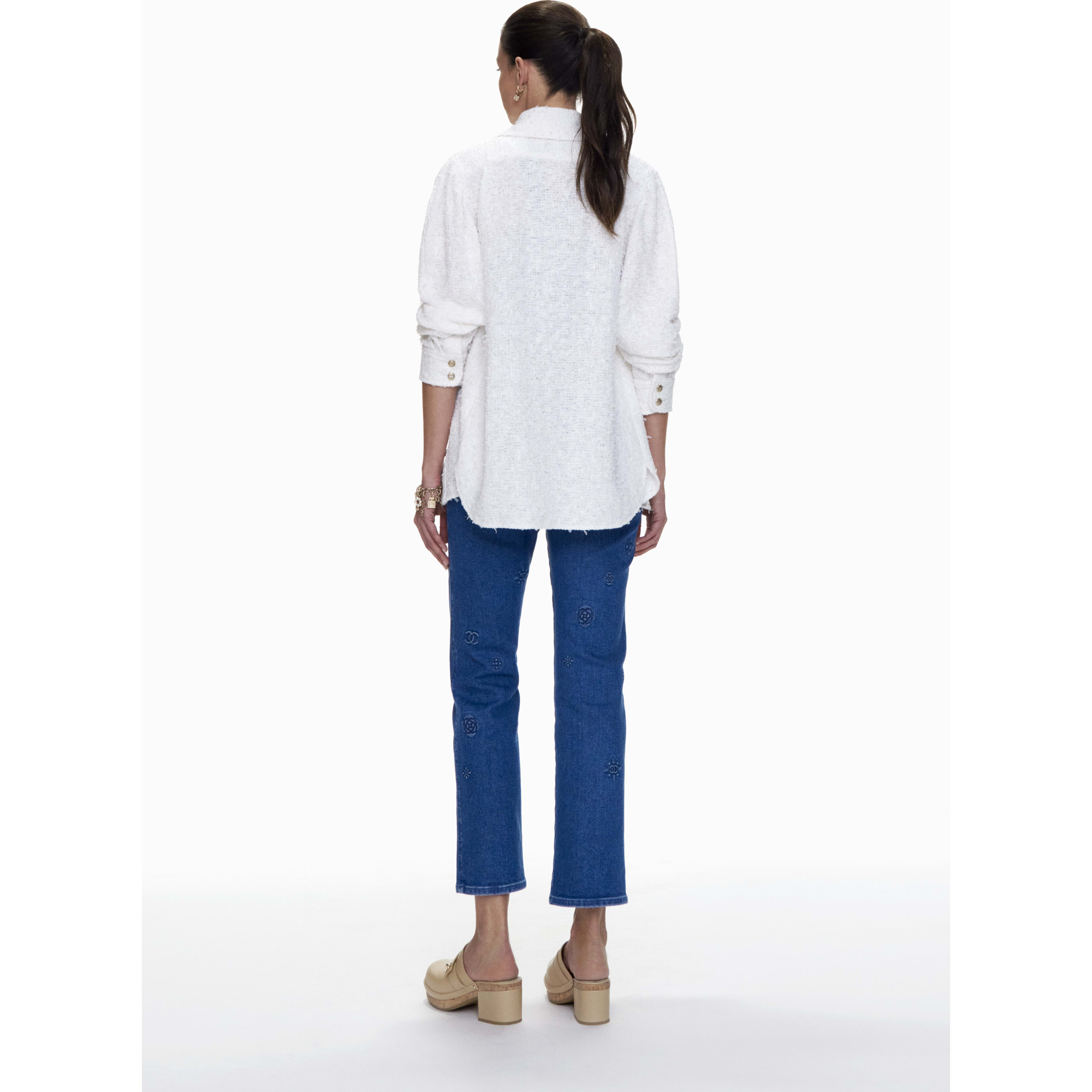 Jeans - Blue - Embroidered Washed Stretch Denim  - CHANEL - Other view - see standard sized version