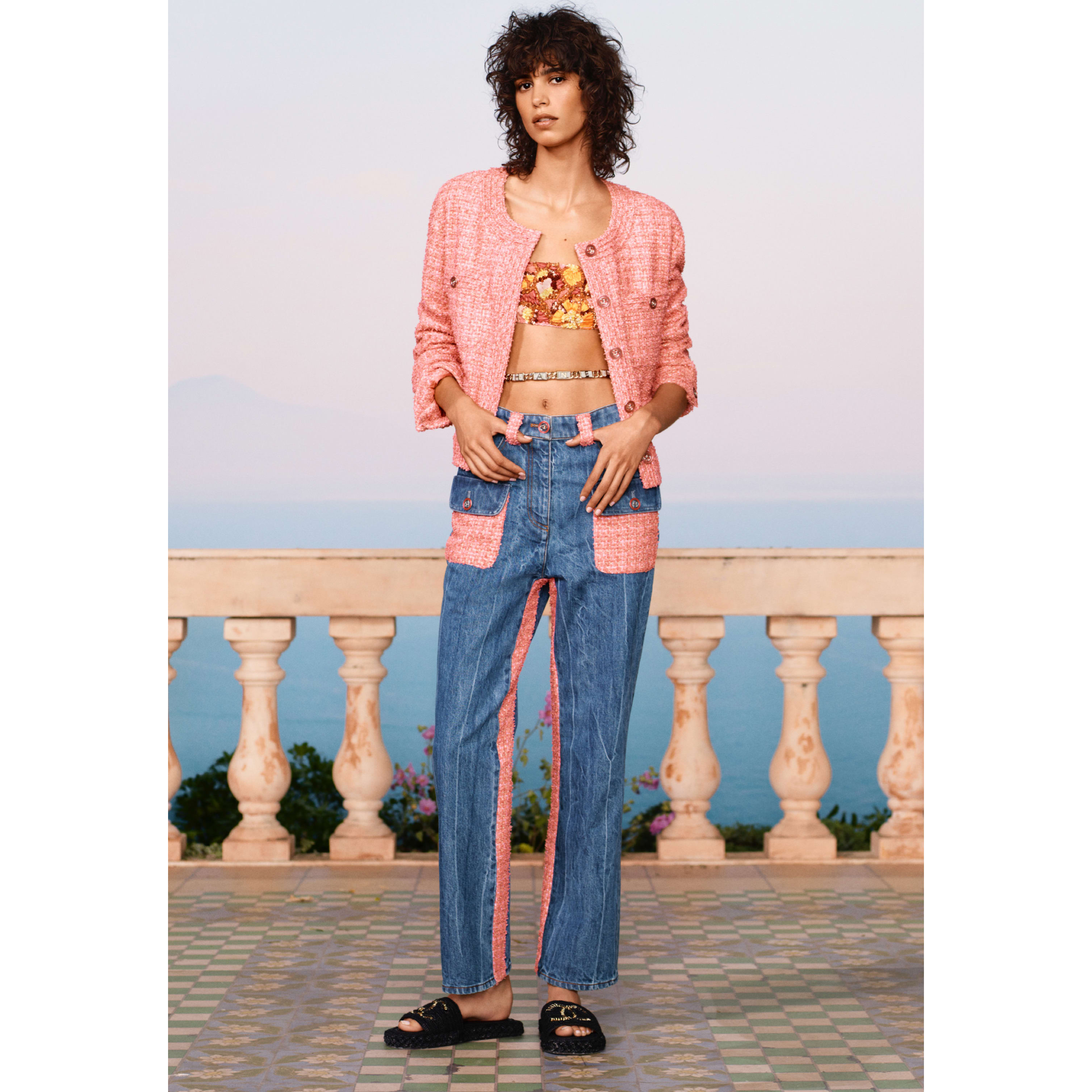 Jeans - Blue & Pink - Washed Denim & Tweed - CHANEL - Default view - see standard sized version