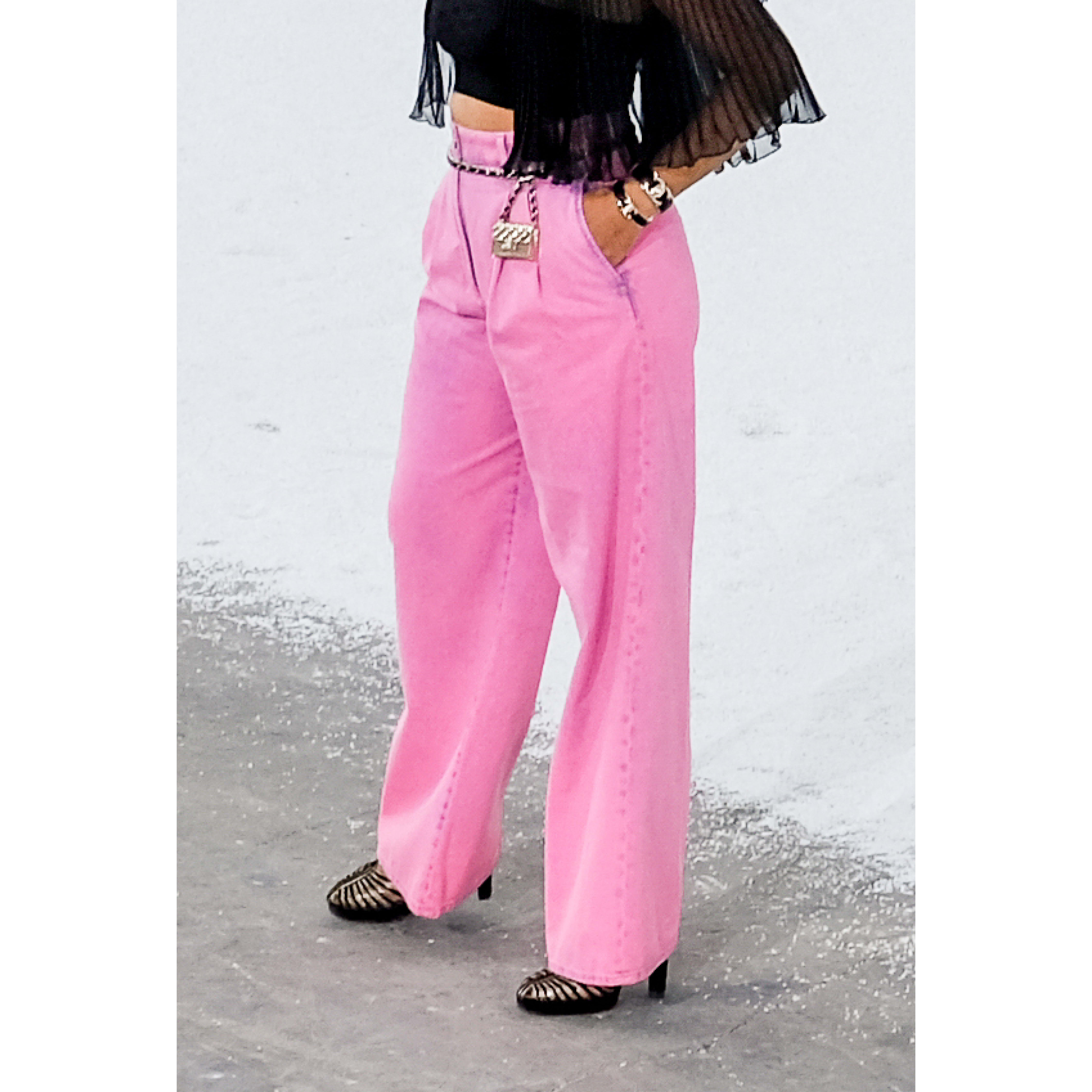 Jeans - Neon Pink - Washed Out Denim - CHANEL - Other view - see standard sized version