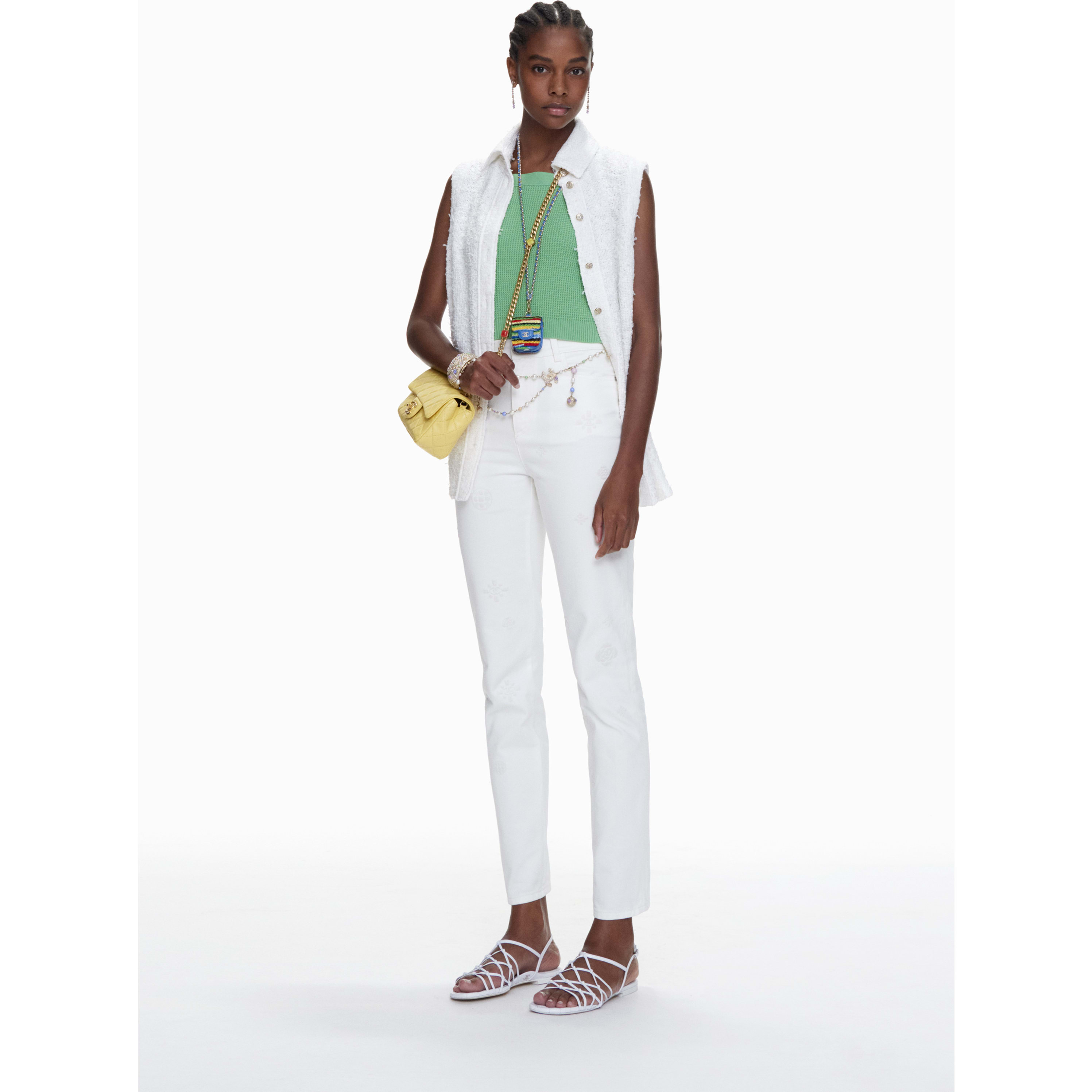 Jeans - White - Embroidered Denim - CHANEL - Default view - see standard sized version