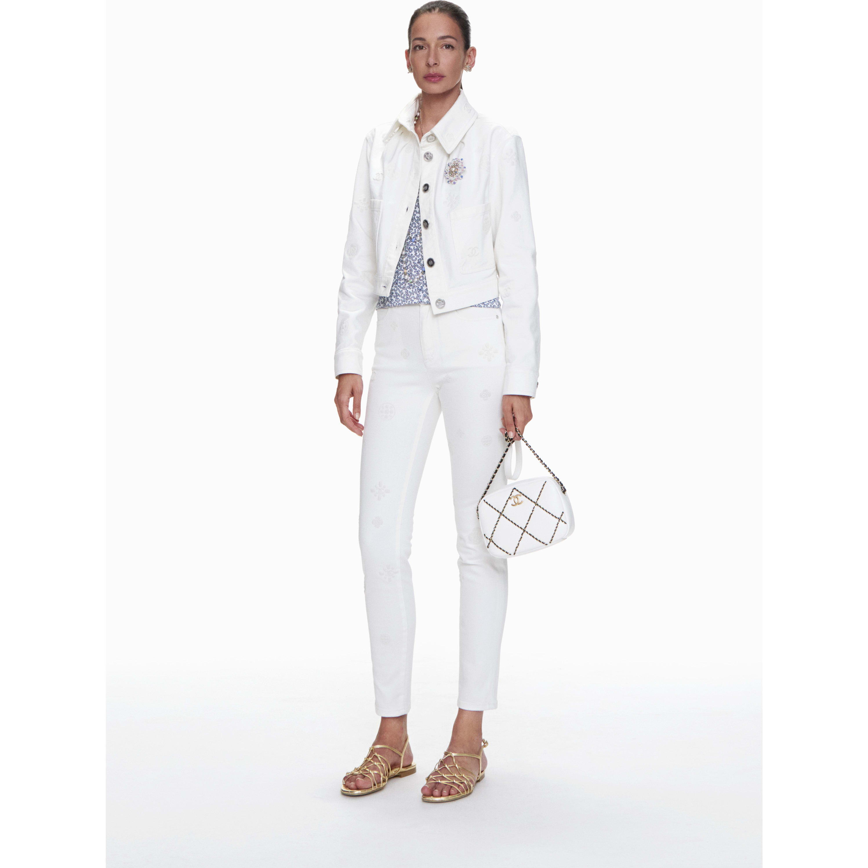 Jeans - White - Embroidered Stretch Denim - CHANEL - Default view - see standard sized version