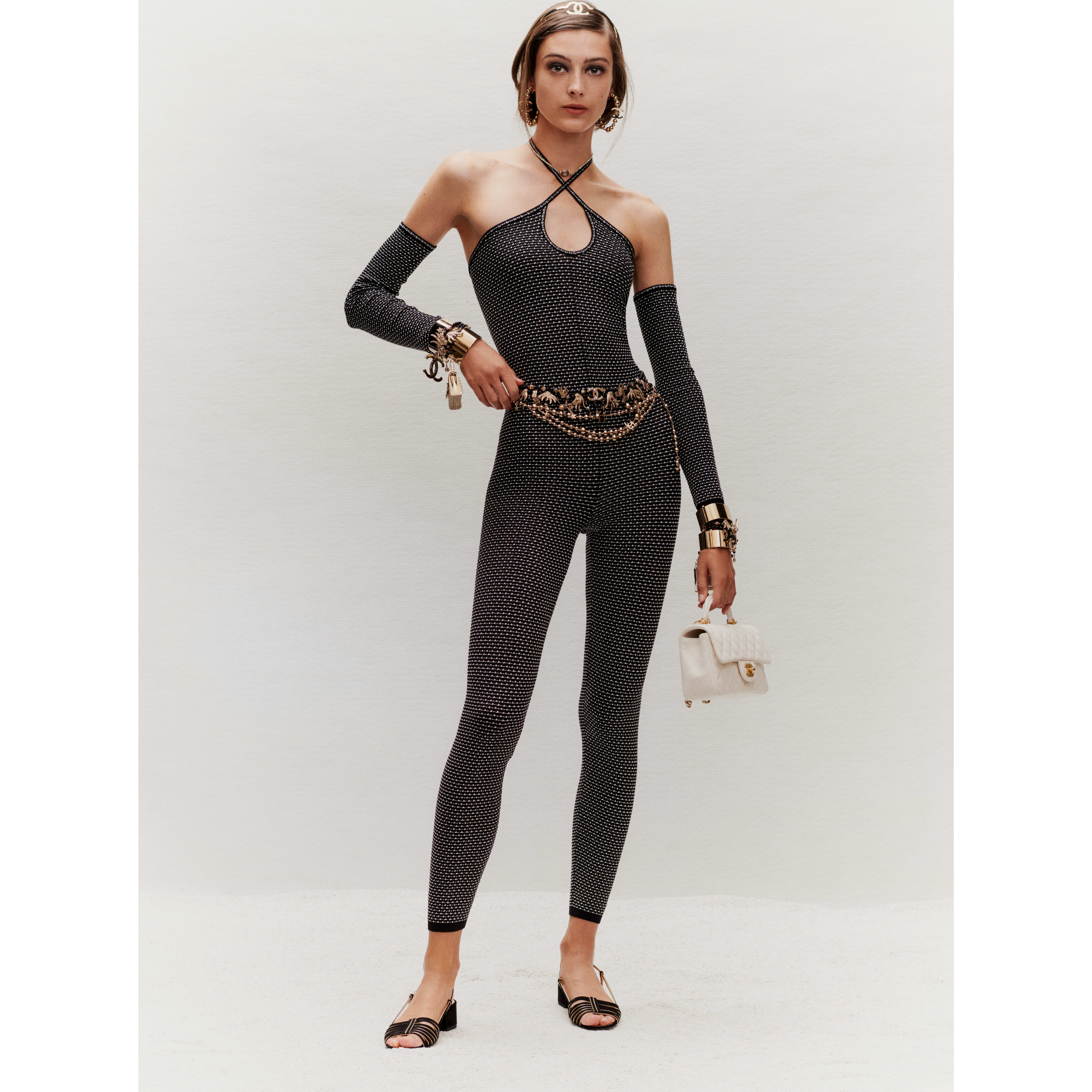 Jumpsuit - Black & Ecru - Silk & Cotton - CHANEL - Extra view - see standard sized version