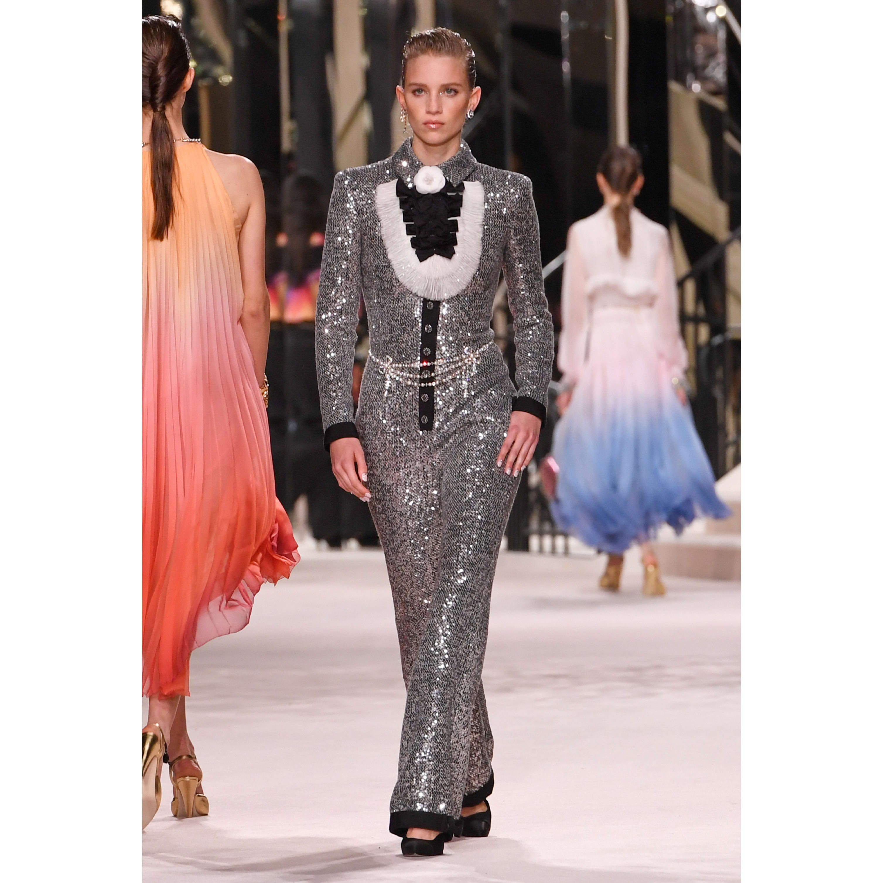 Jumpsuit - Silver, Black & Gold - Glittered Tweed - CHANEL - Default view - see standard sized version