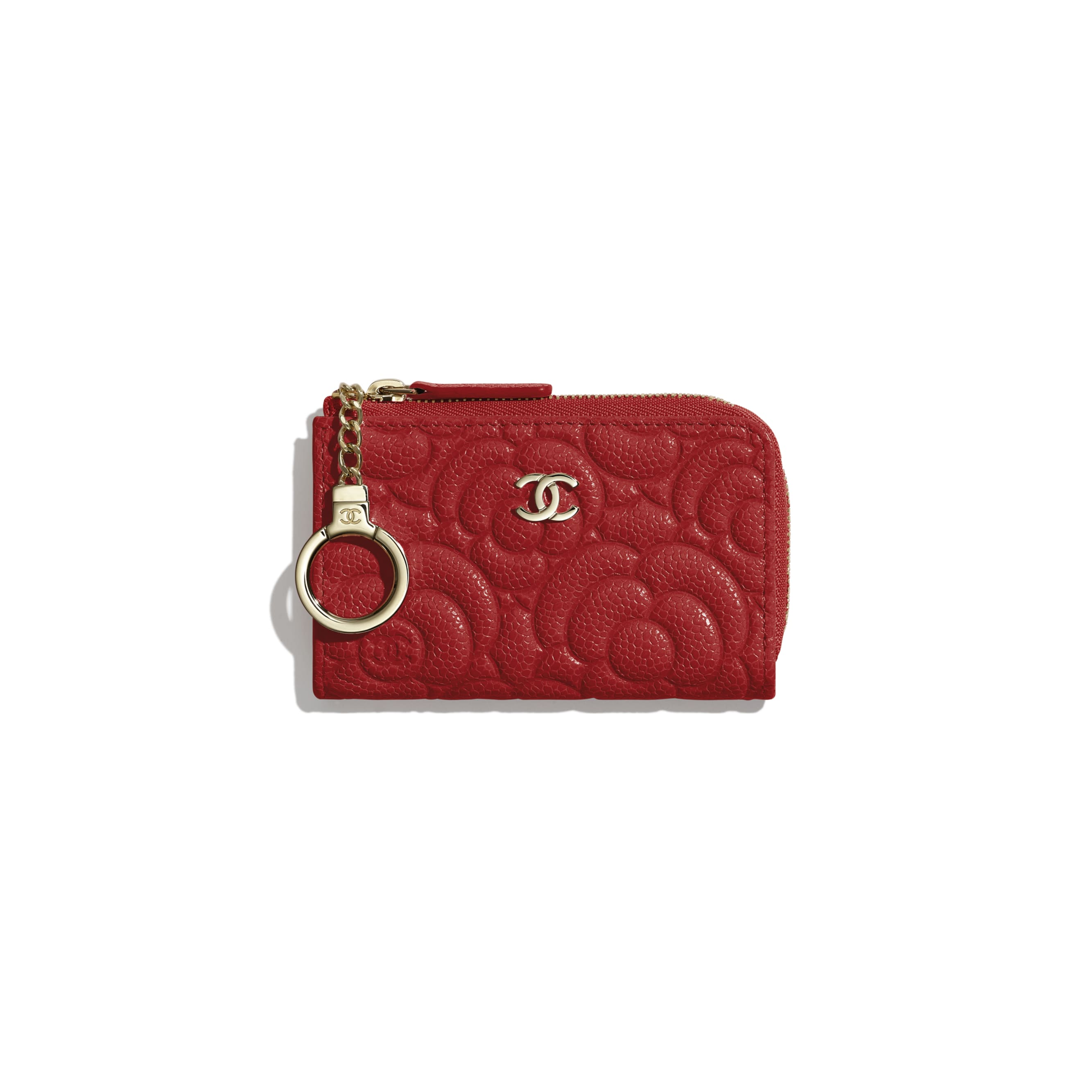 Key Holder - Red - Grained Shiny Calfskin & Gold-Tone Metal - Default view - see standard sized version