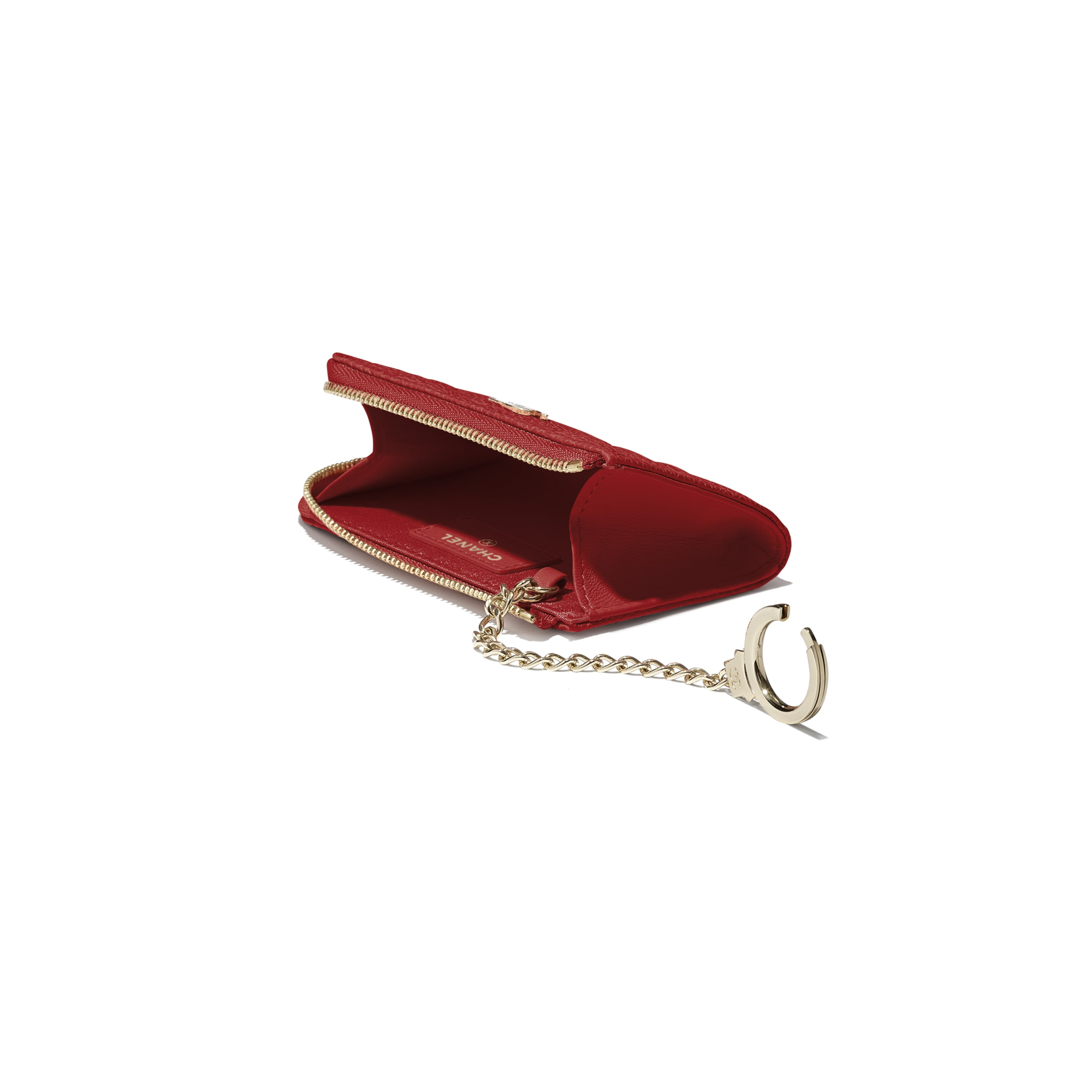Key Holder - Red - Grained Shiny Calfskin & Gold-Tone Metal - Extra view - see standard sized version
