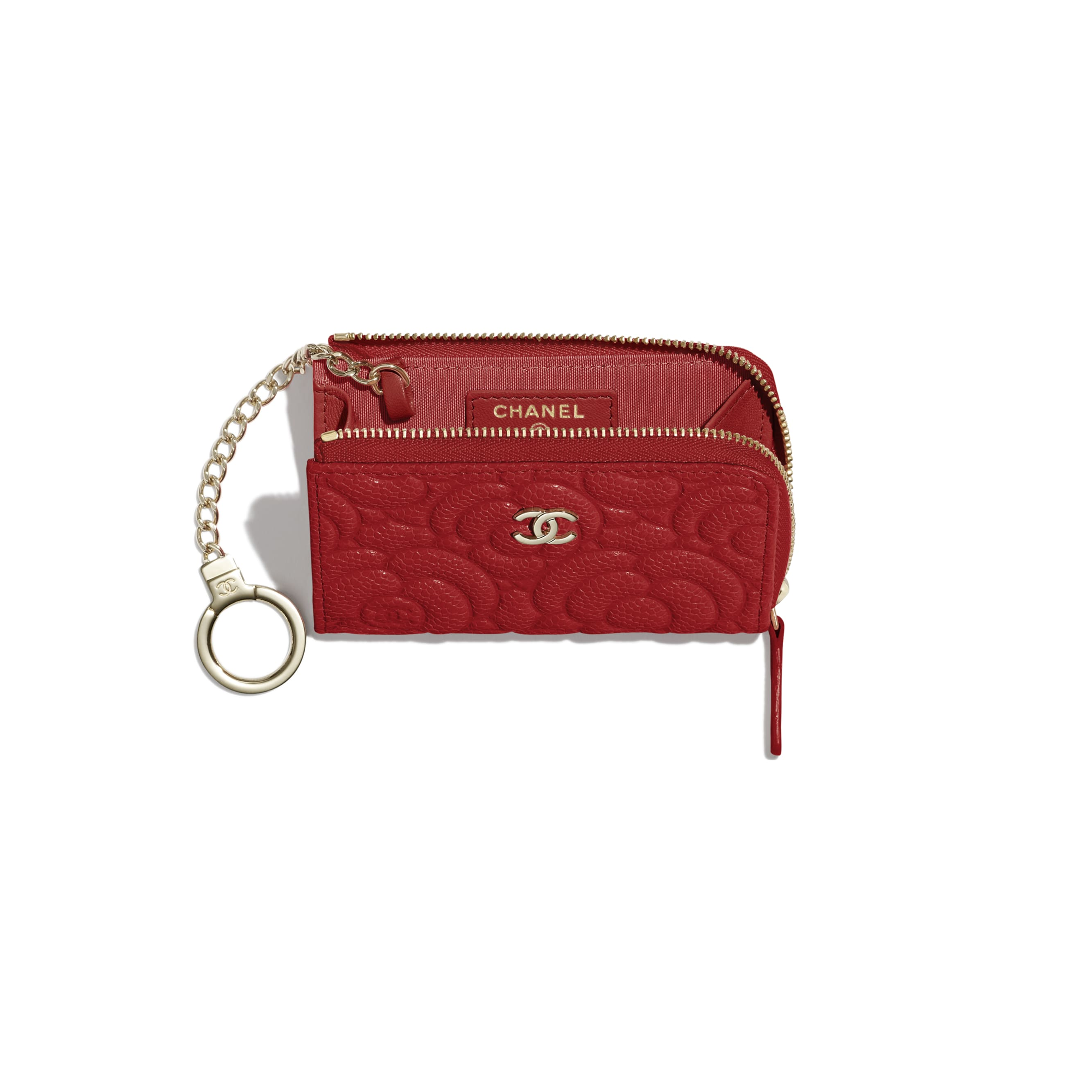 Key Holder - Red - Grained Shiny Calfskin & Gold-Tone Metal - Other view - see standard sized version