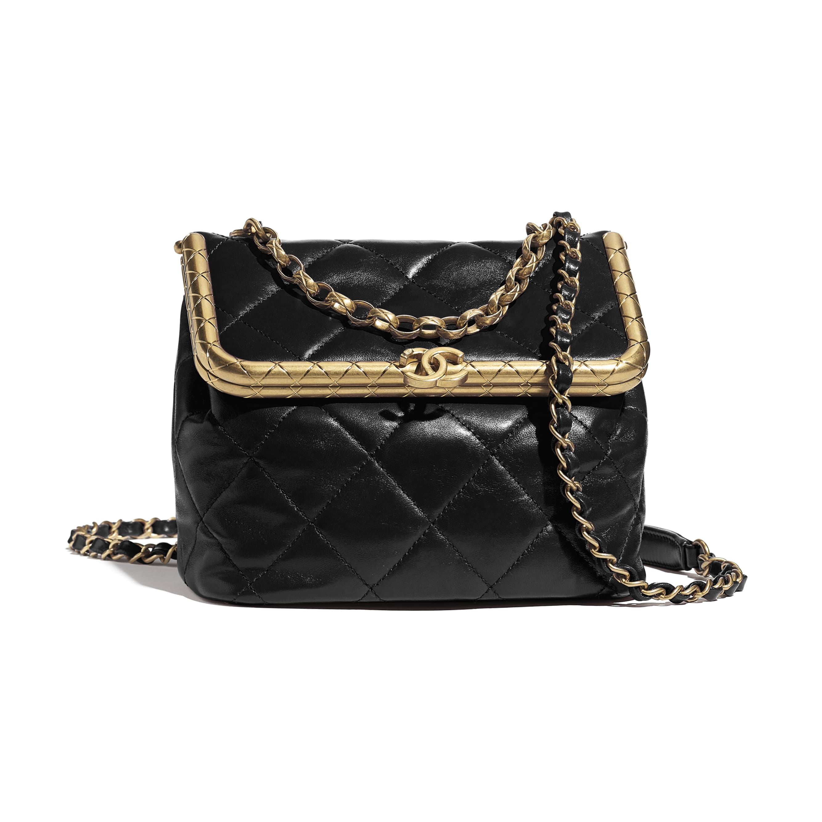 Clasp Bag - Black - Lambskin - CHANEL - Default view - see standard sized version