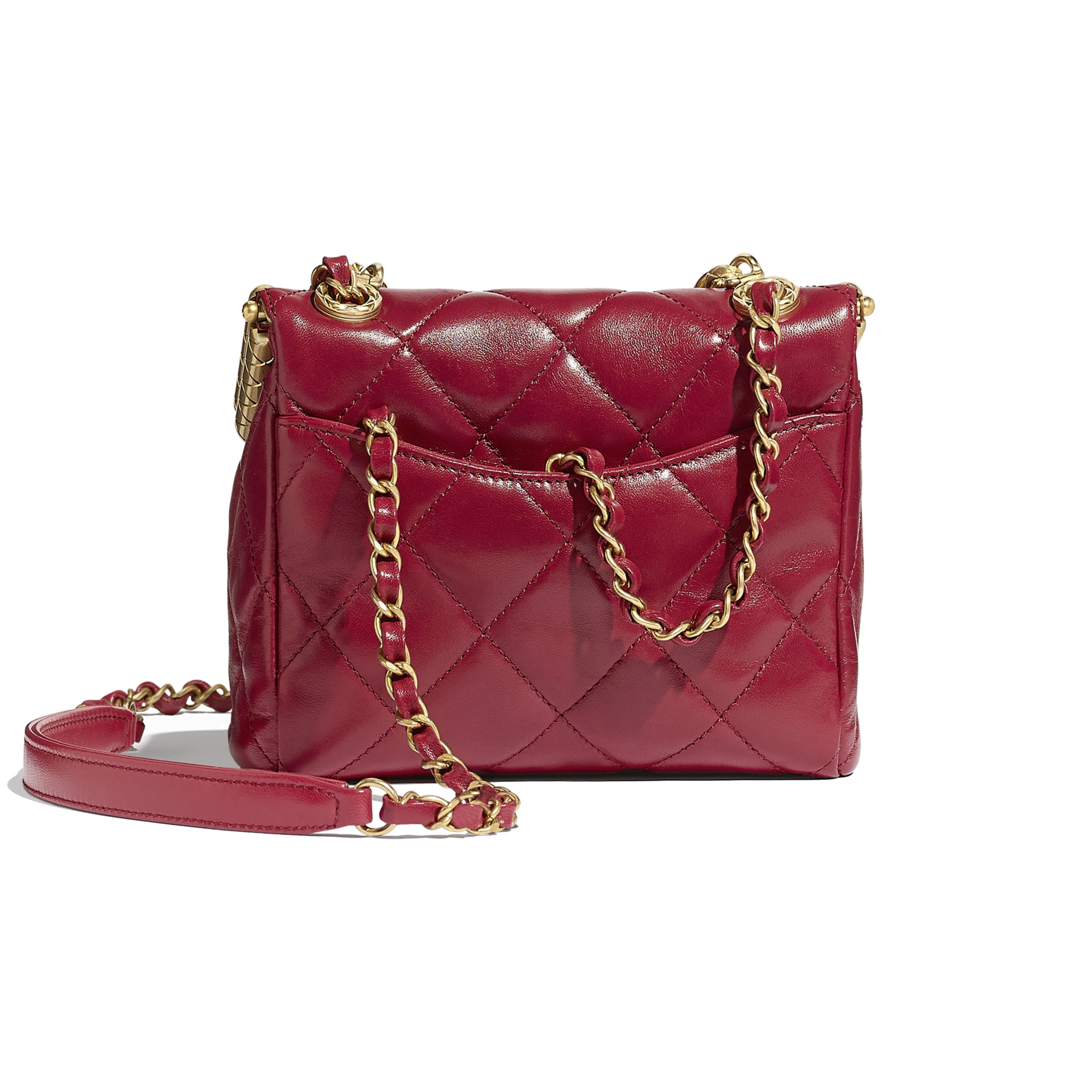 Clasp Bag - Red - Lambskin - CHANEL - Alternative view - see standard sized version