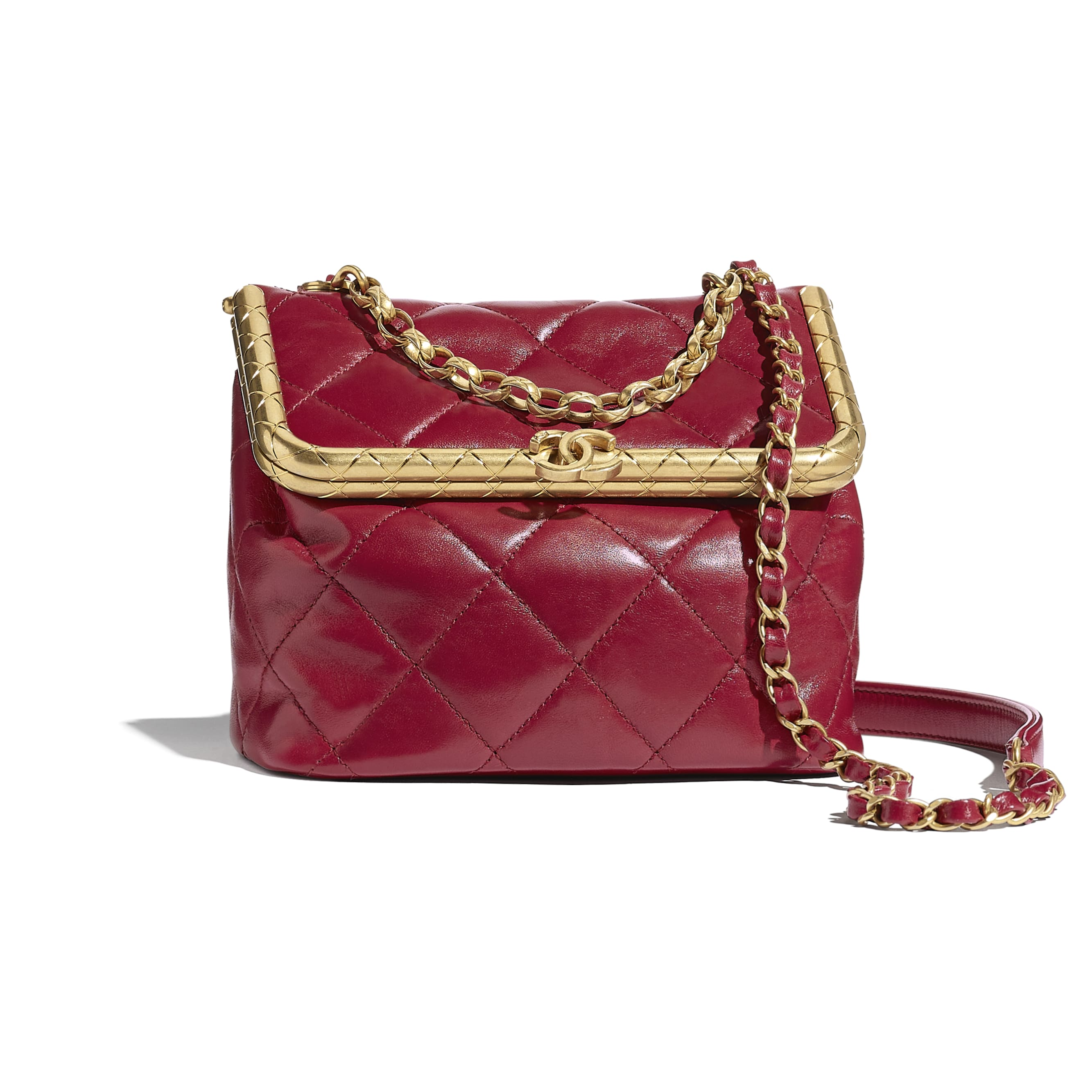 Clasp Bag - Red - Lambskin - CHANEL - Default view - see standard sized version