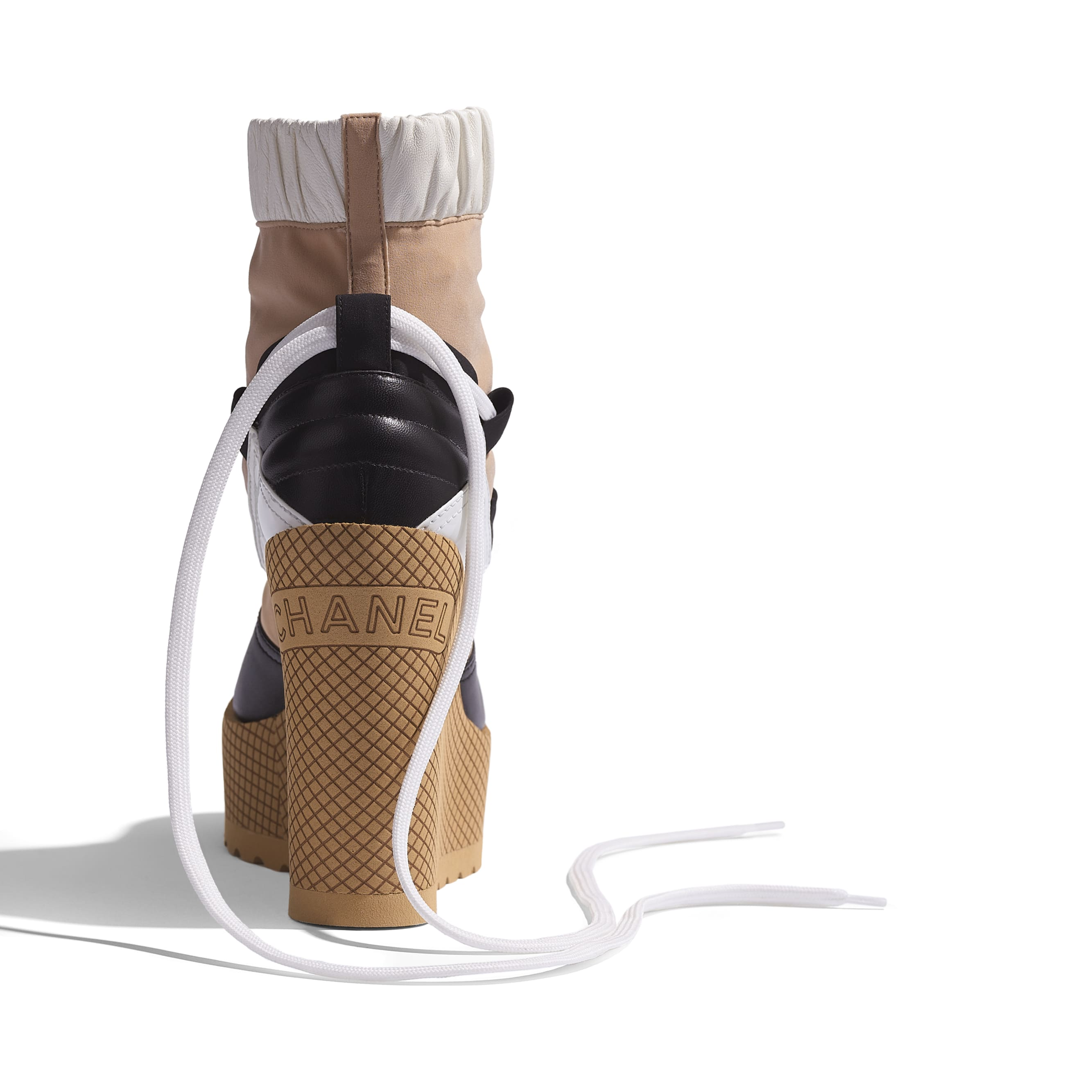 Lace-Ups - Beige, Black & White - Mixed Fibers, Lambskin & Calfskin - Extra view - see standard sized version