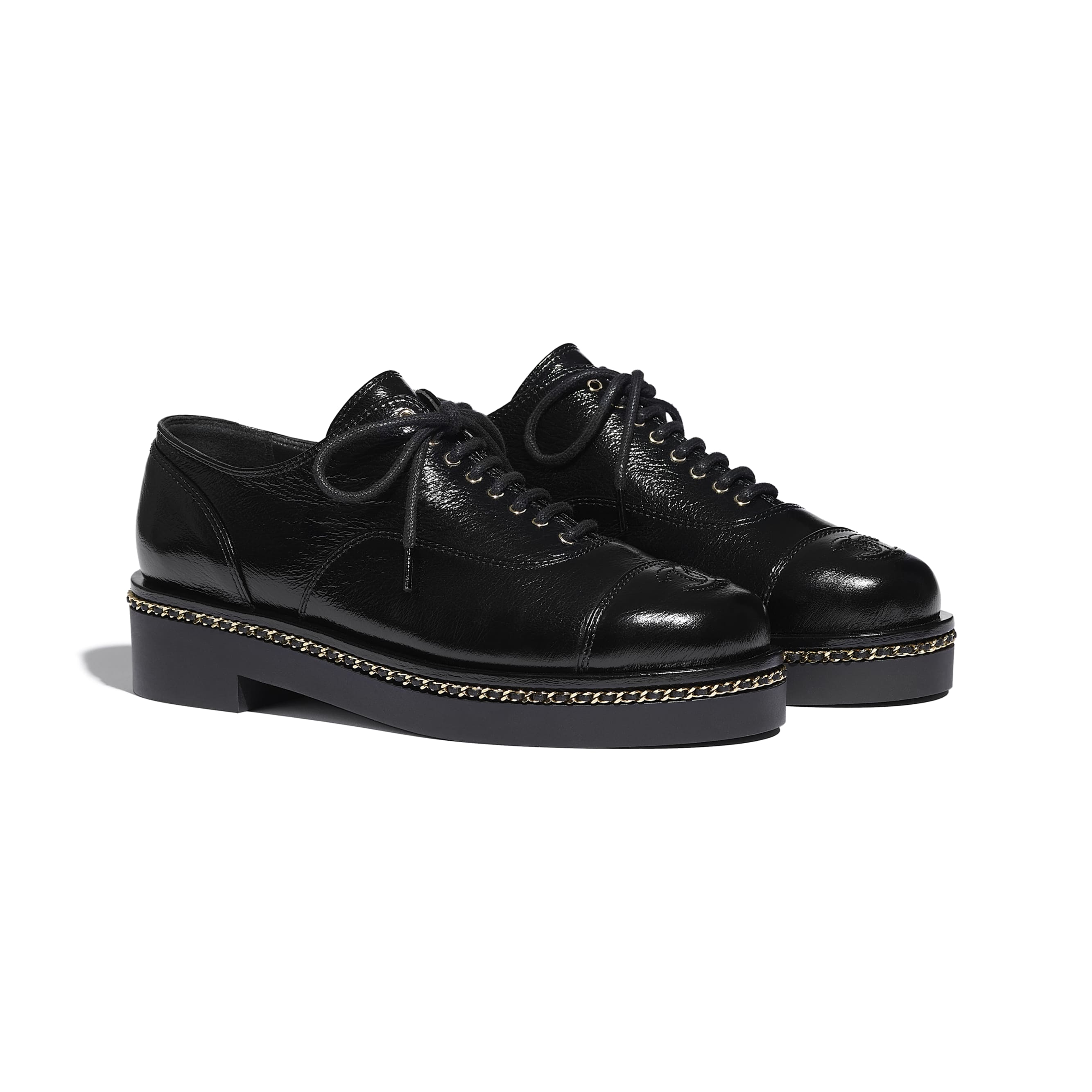 Lace Up - Black - Crumpled Lambskin - CHANEL - Alternative view - see standard sized version