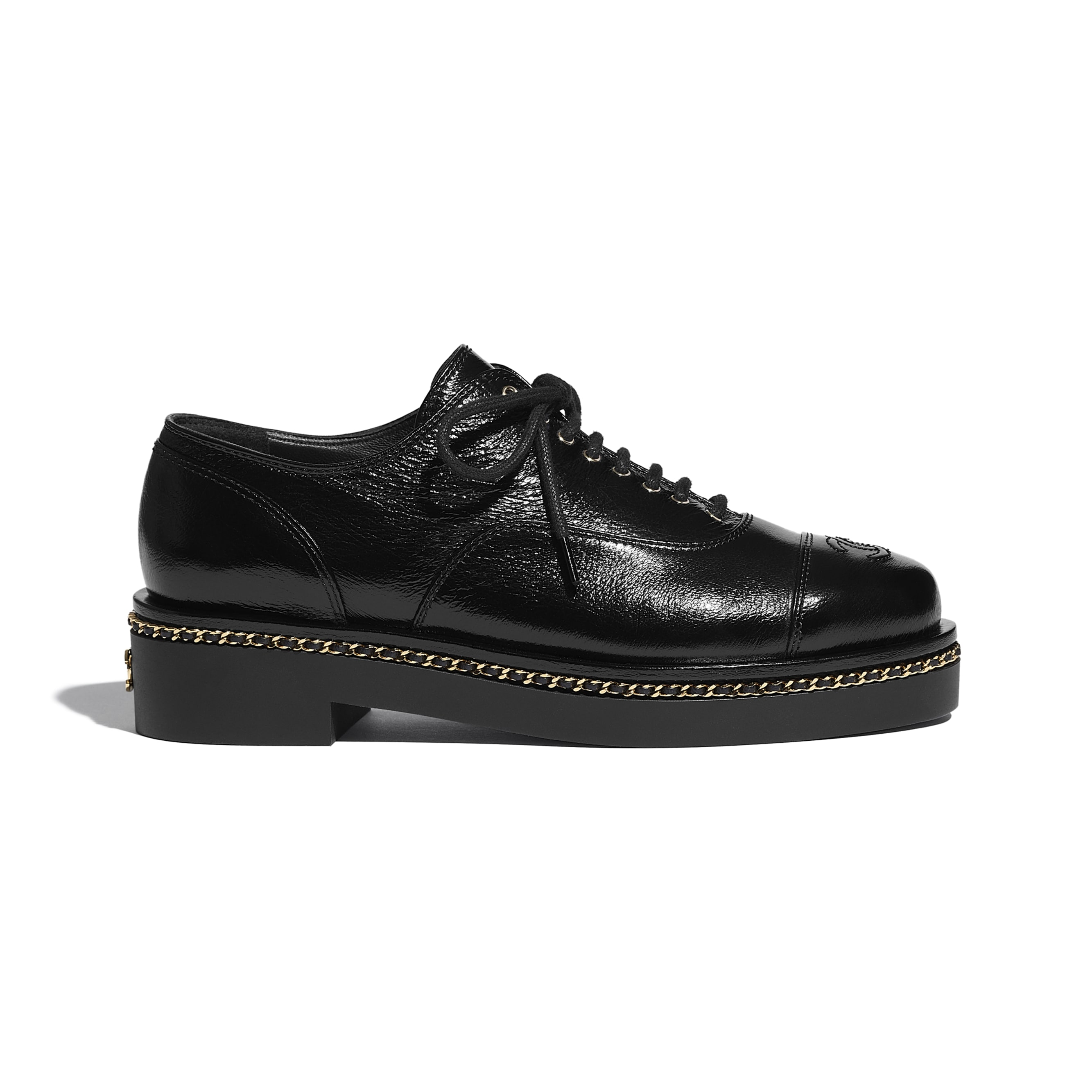 Lace Up - Black - Crumpled Lambskin - CHANEL - Default view - see standard sized version