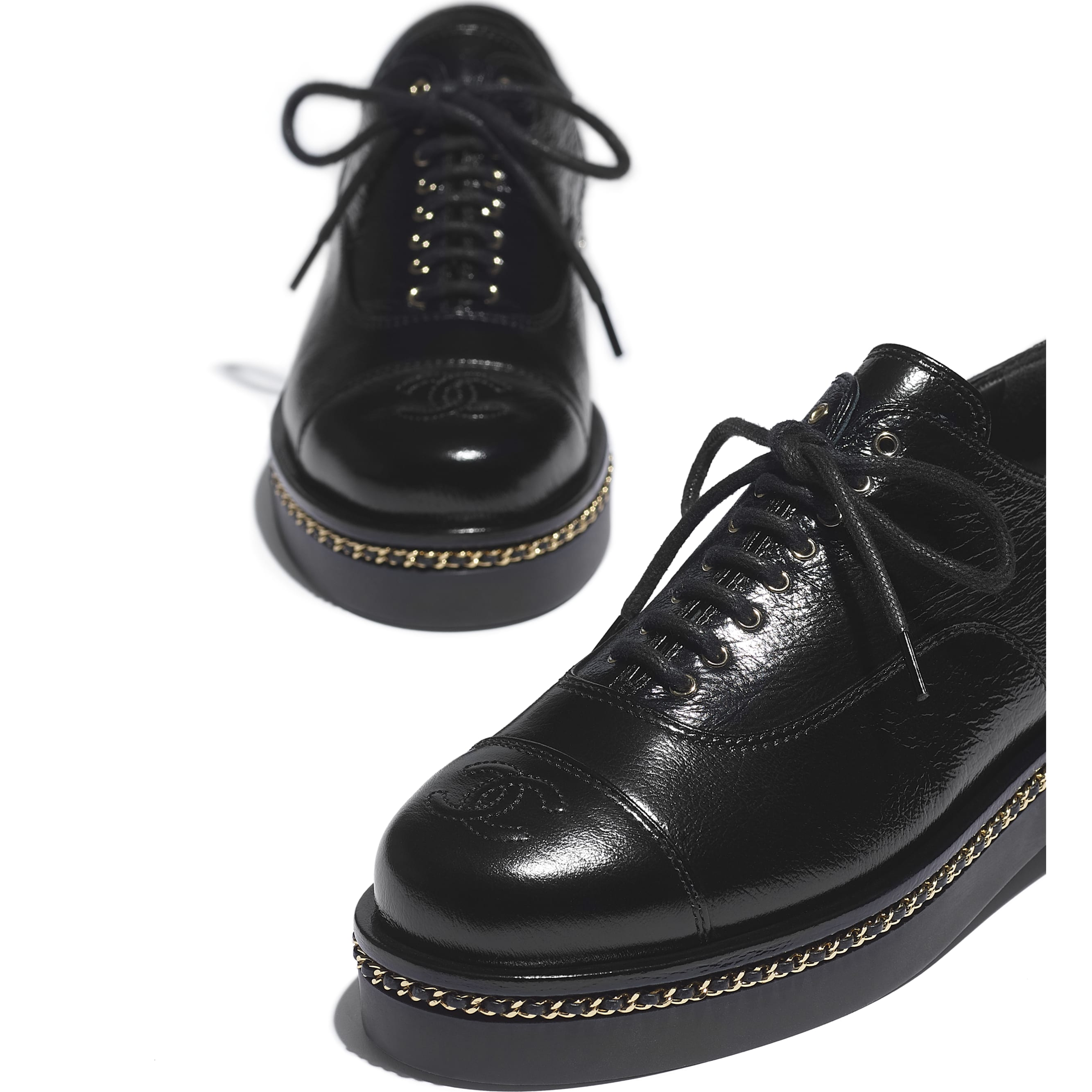 Lace Up - Black - Crumpled Lambskin - CHANEL - Extra view - see standard sized version