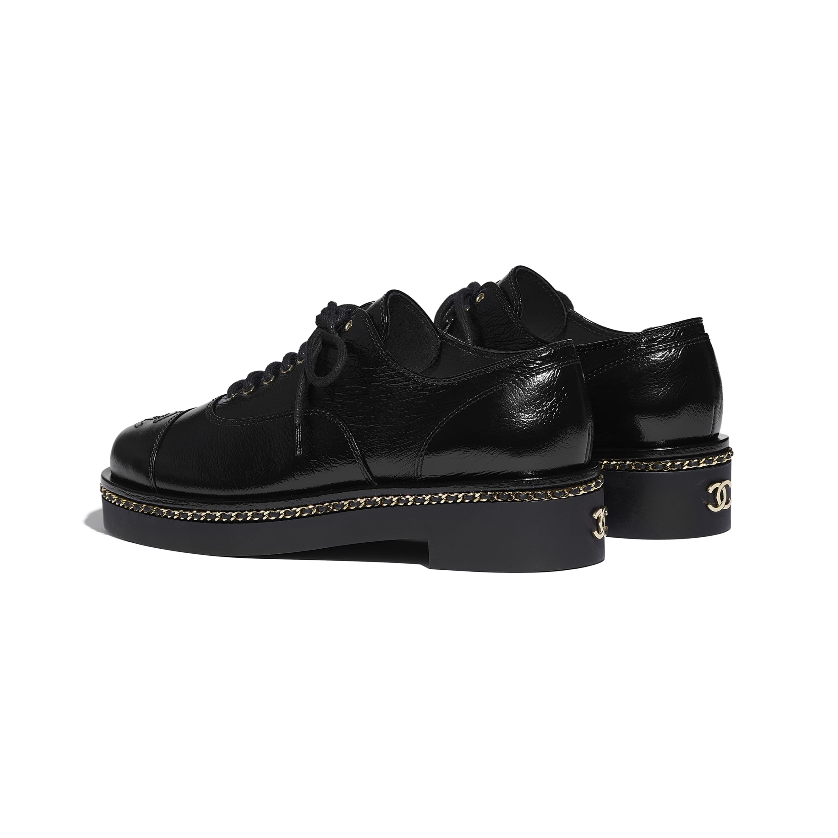 Lace Up - Black - Crumpled Lambskin - CHANEL - Other view - see standard sized version