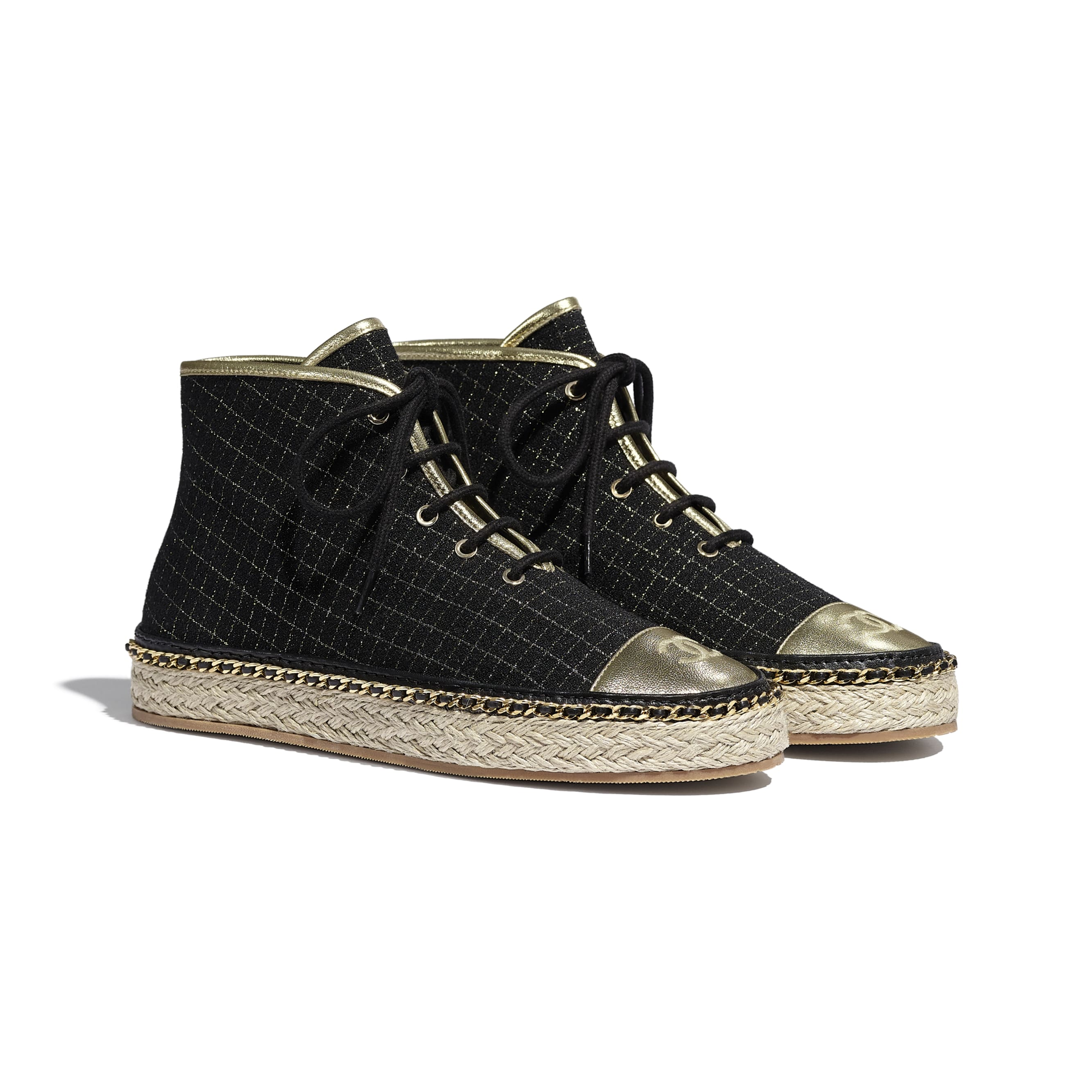 Lace Up - Black & Gold - Tweed & Laminated Lambskin - Alternative view - see standard sized version