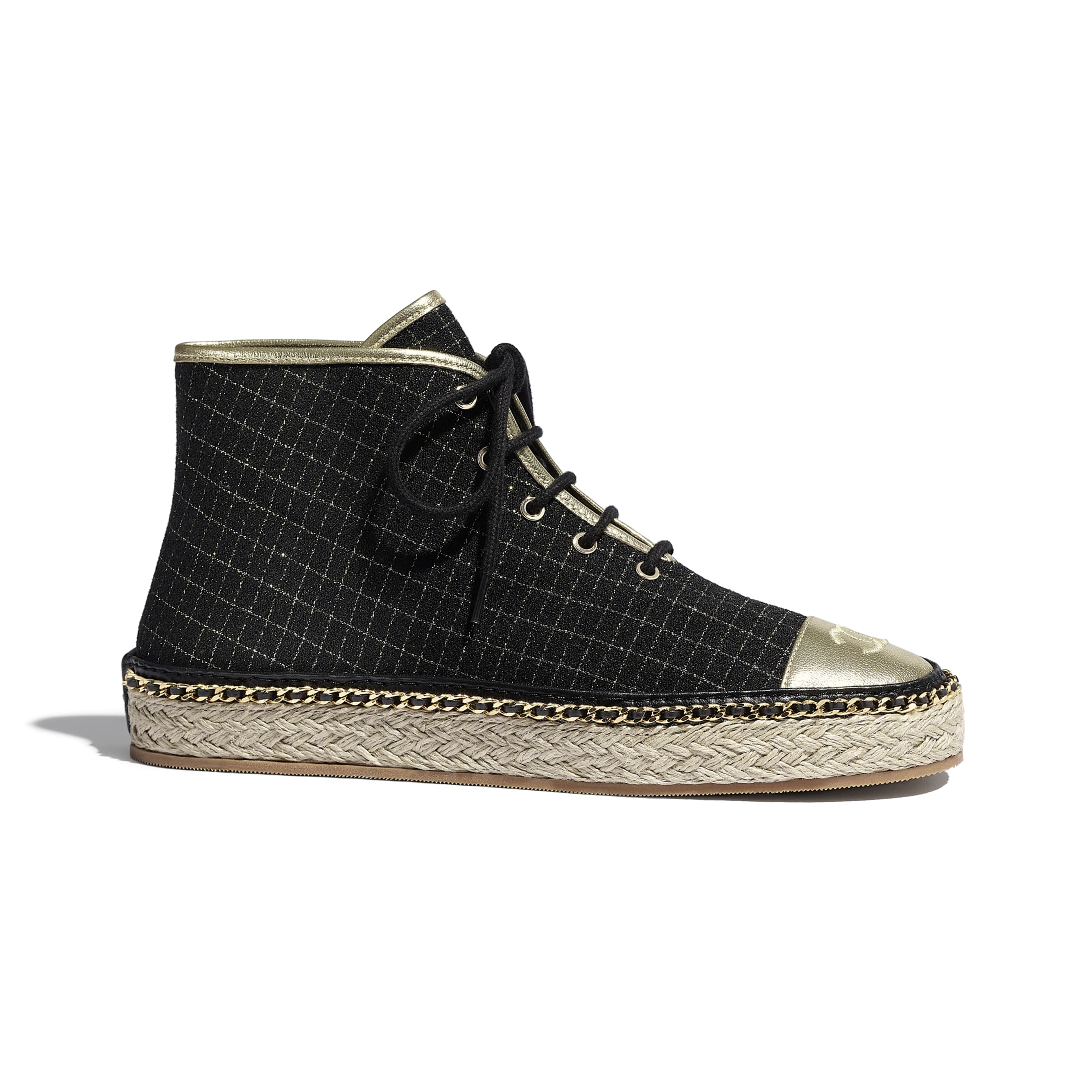 Lace Up - Black & Gold - Tweed & Laminated Lambskin - Default view - see standard sized version