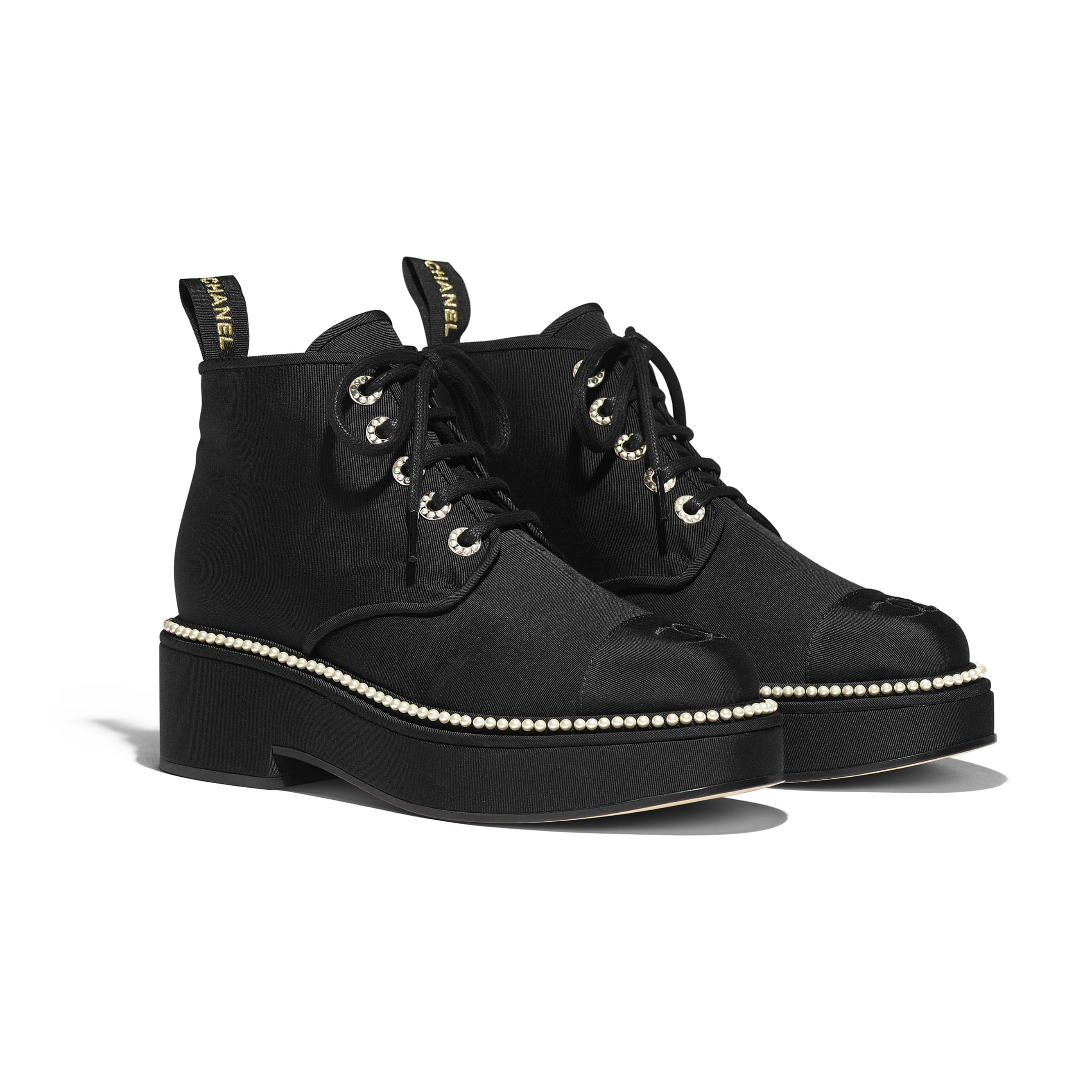 Lace-Ups - Black - Grosgrain - CHANEL - Alternative view - see standard sized version