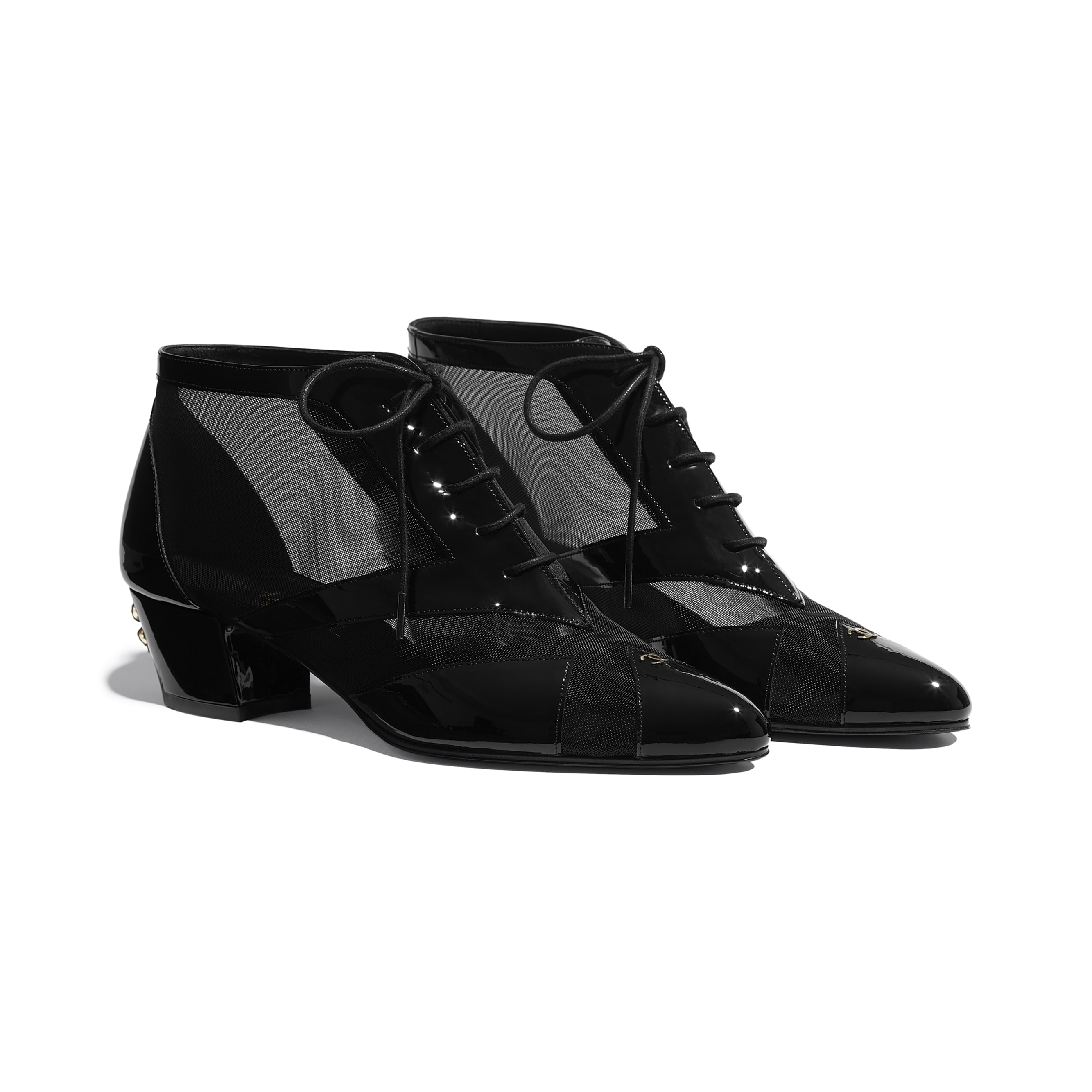 Lace Up - Black - Mesh & Patent Calfskin - CHANEL - Alternative view - see standard sized version