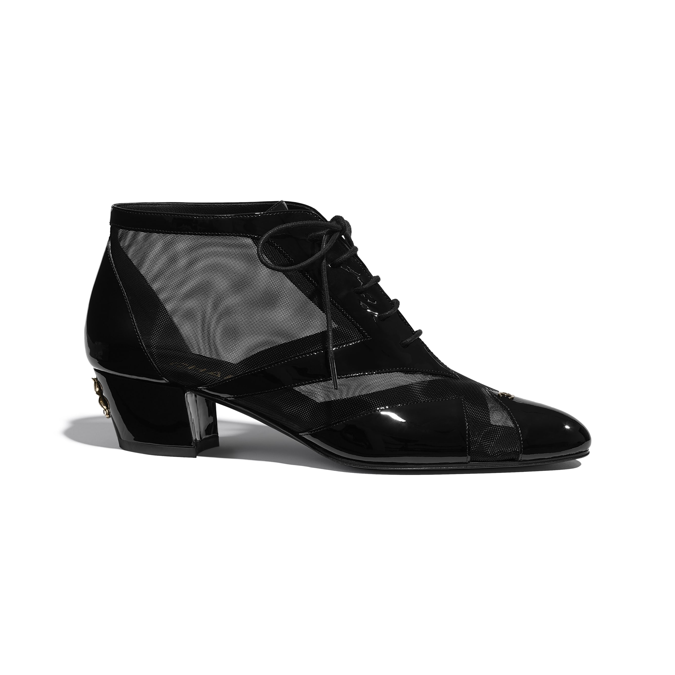 Lace Up - Black - Mesh & Patent Calfskin - CHANEL - Default view - see standard sized version