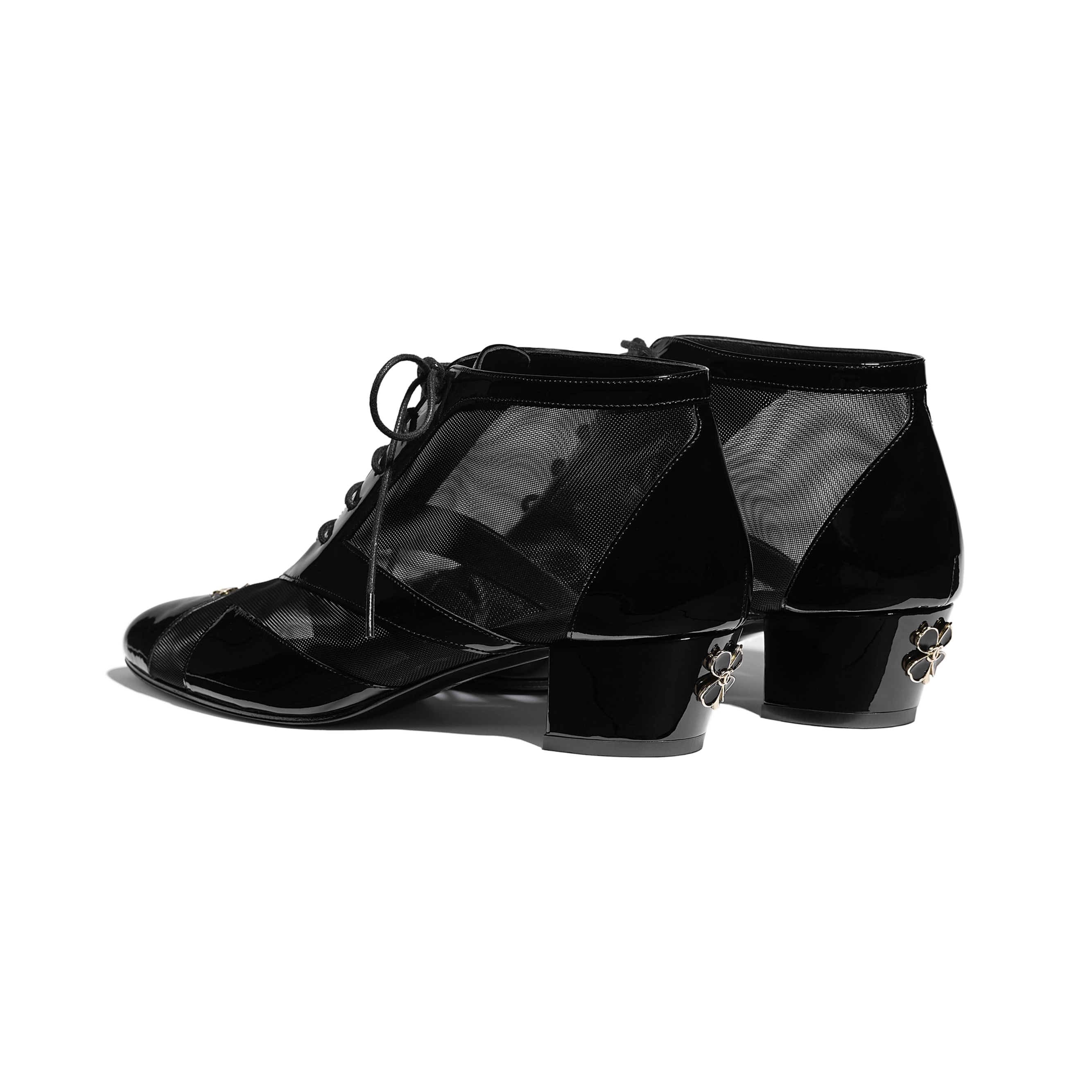 Lace Up - Black - Mesh & Patent Calfskin - CHANEL - Other view - see standard sized version